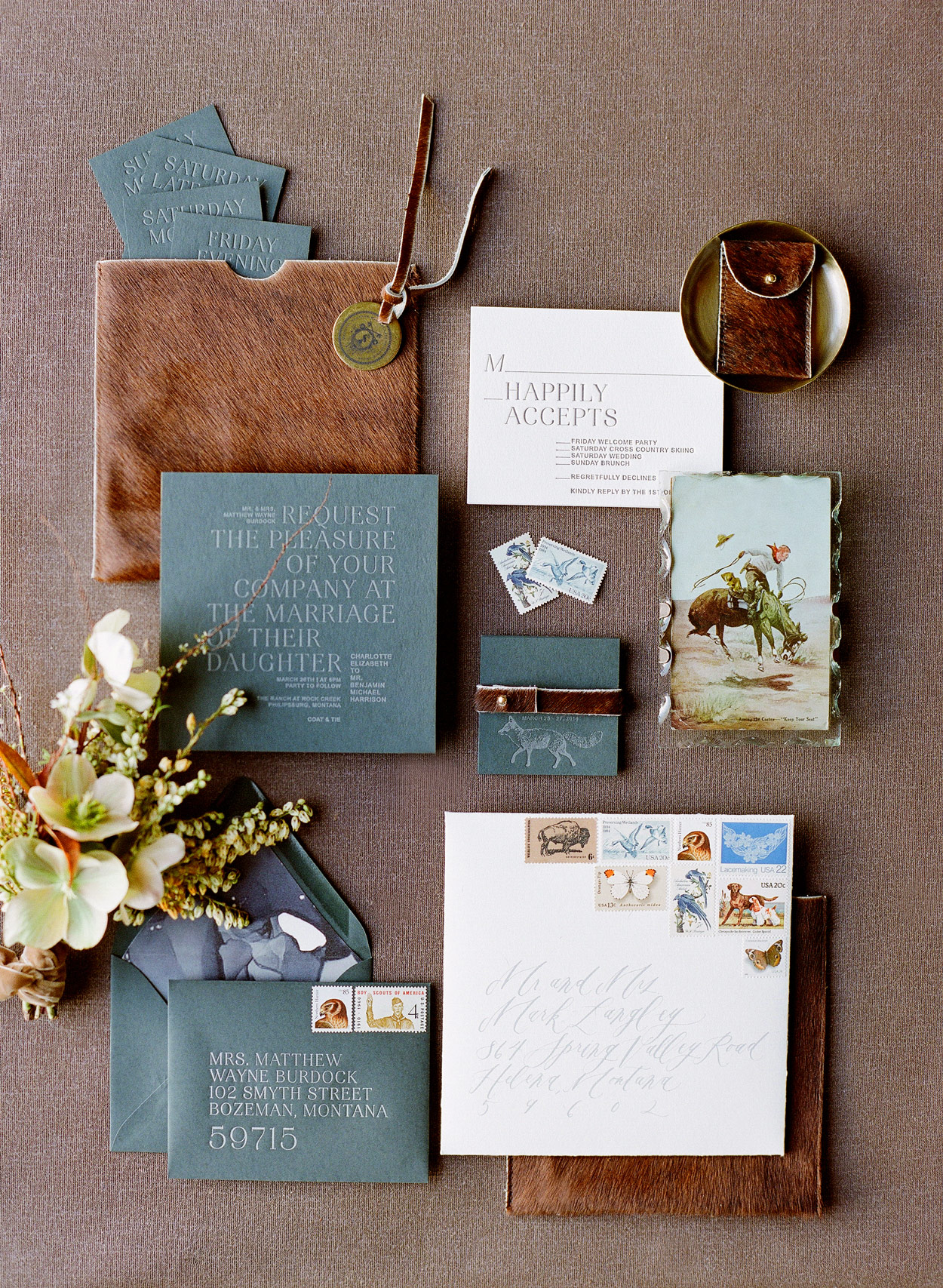 wedding invitations faux animal hide sleeves leather accents