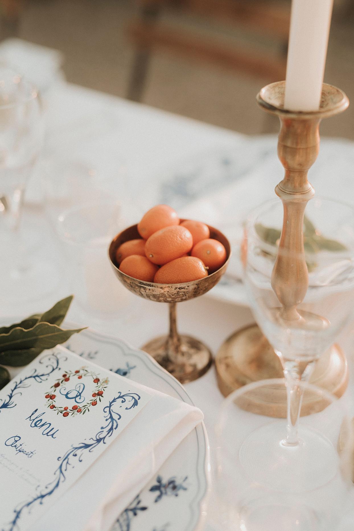 jaclyn antonio wedding place setting crest on menu