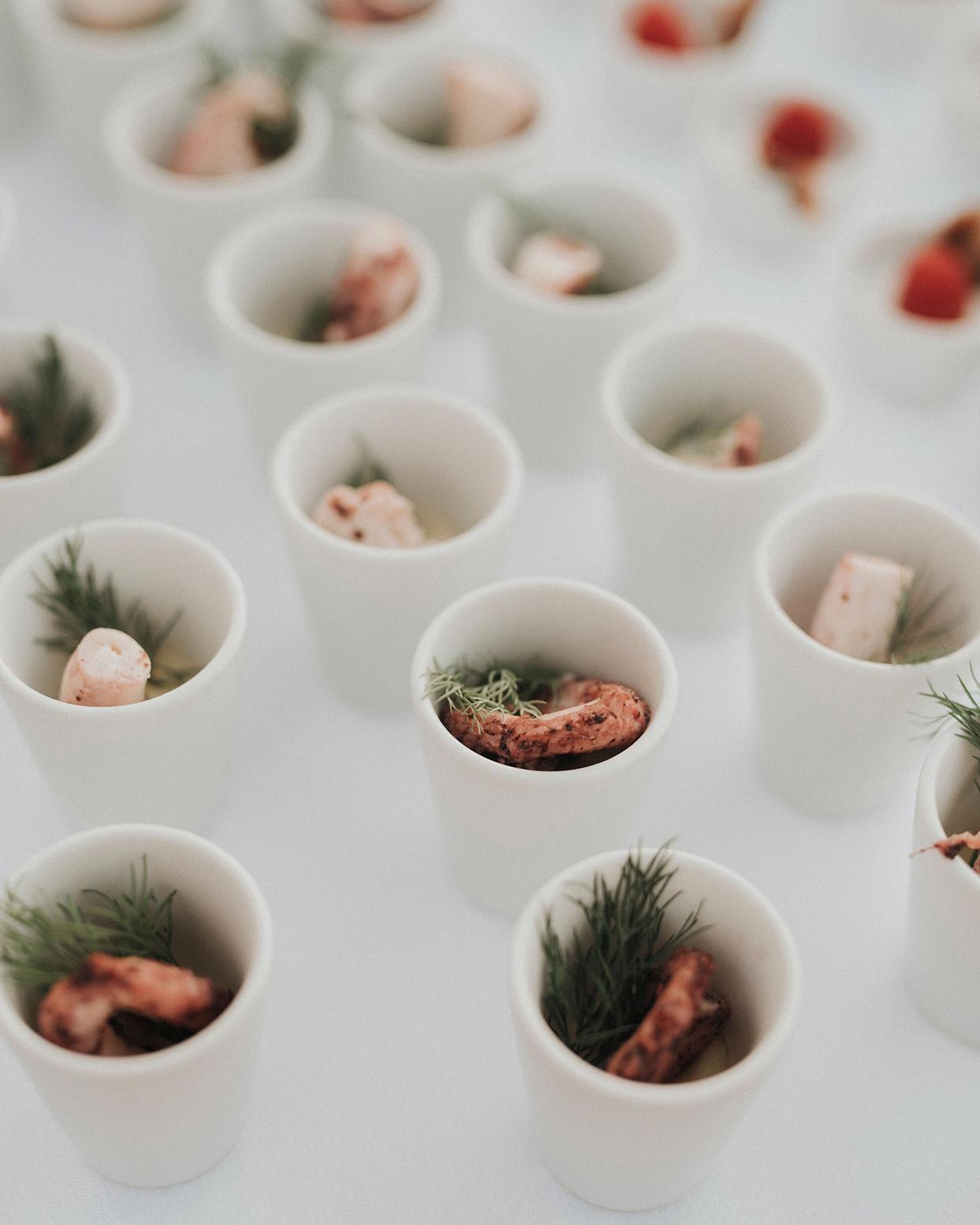 jaclyn antonio wedding shrimp in cups food
