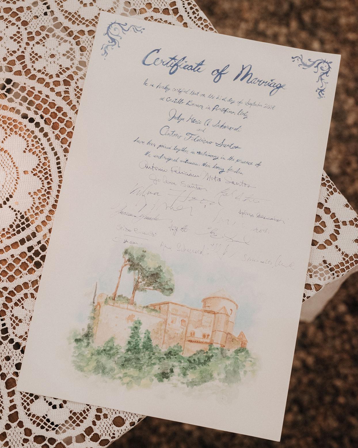 jaclyn antonio wedding watercolor certificate of marriage