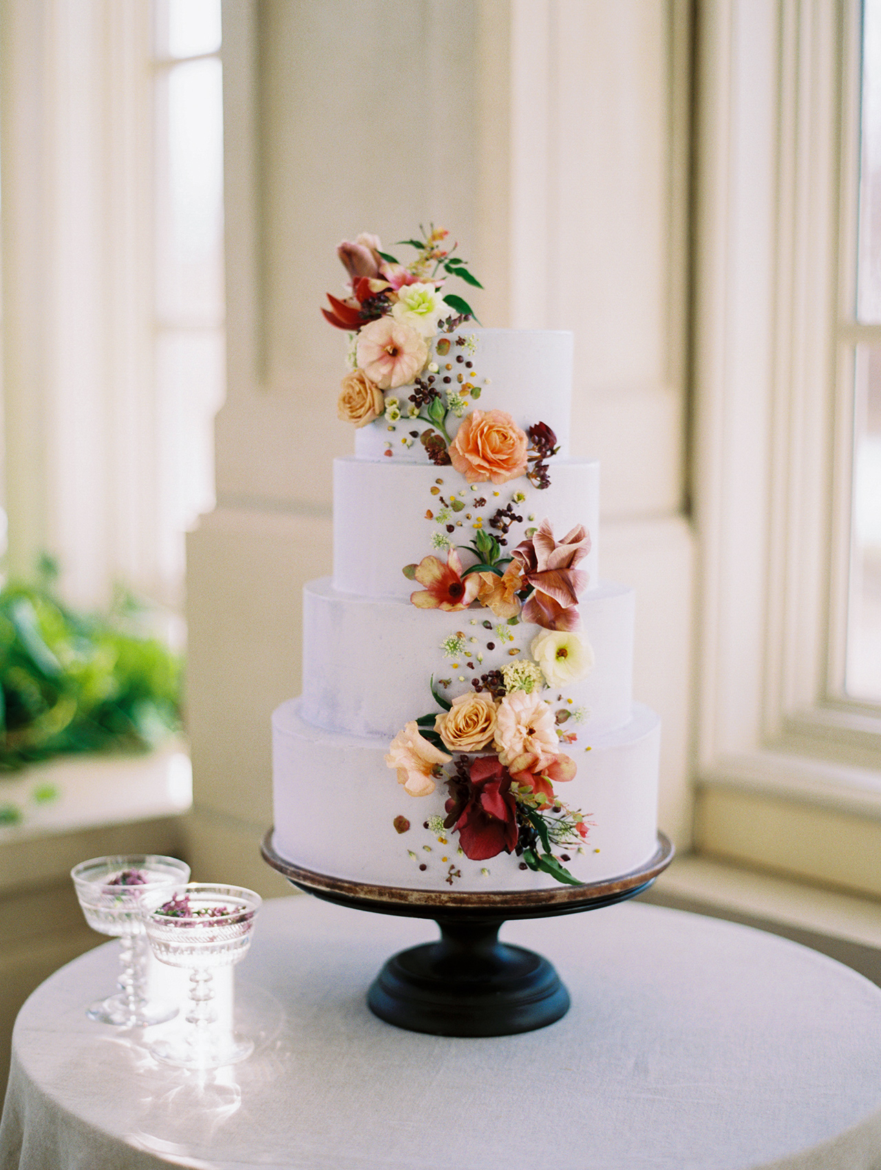 autumn floral wedding cake sash