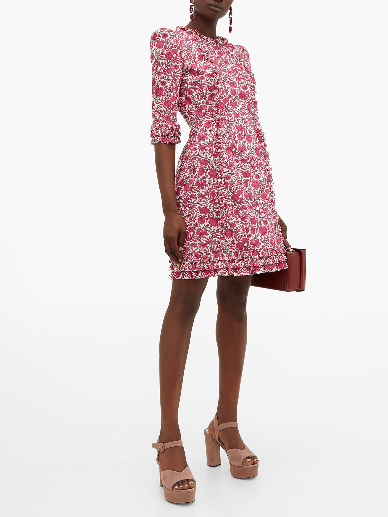 """The Vampire's Wife """"Cate"""" Ruffled Floral-Print Cotton Mini Dress"""