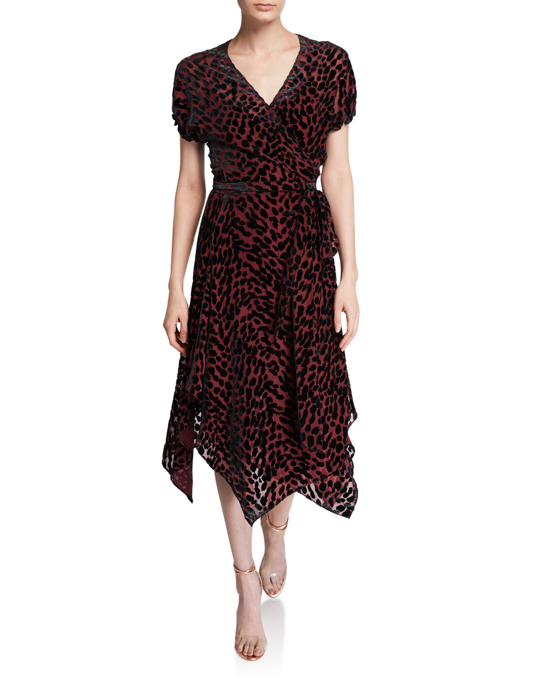 """Diane von Furstenberg """"Katherine"""" Leopard-Print Burnout Wrap Dress"""