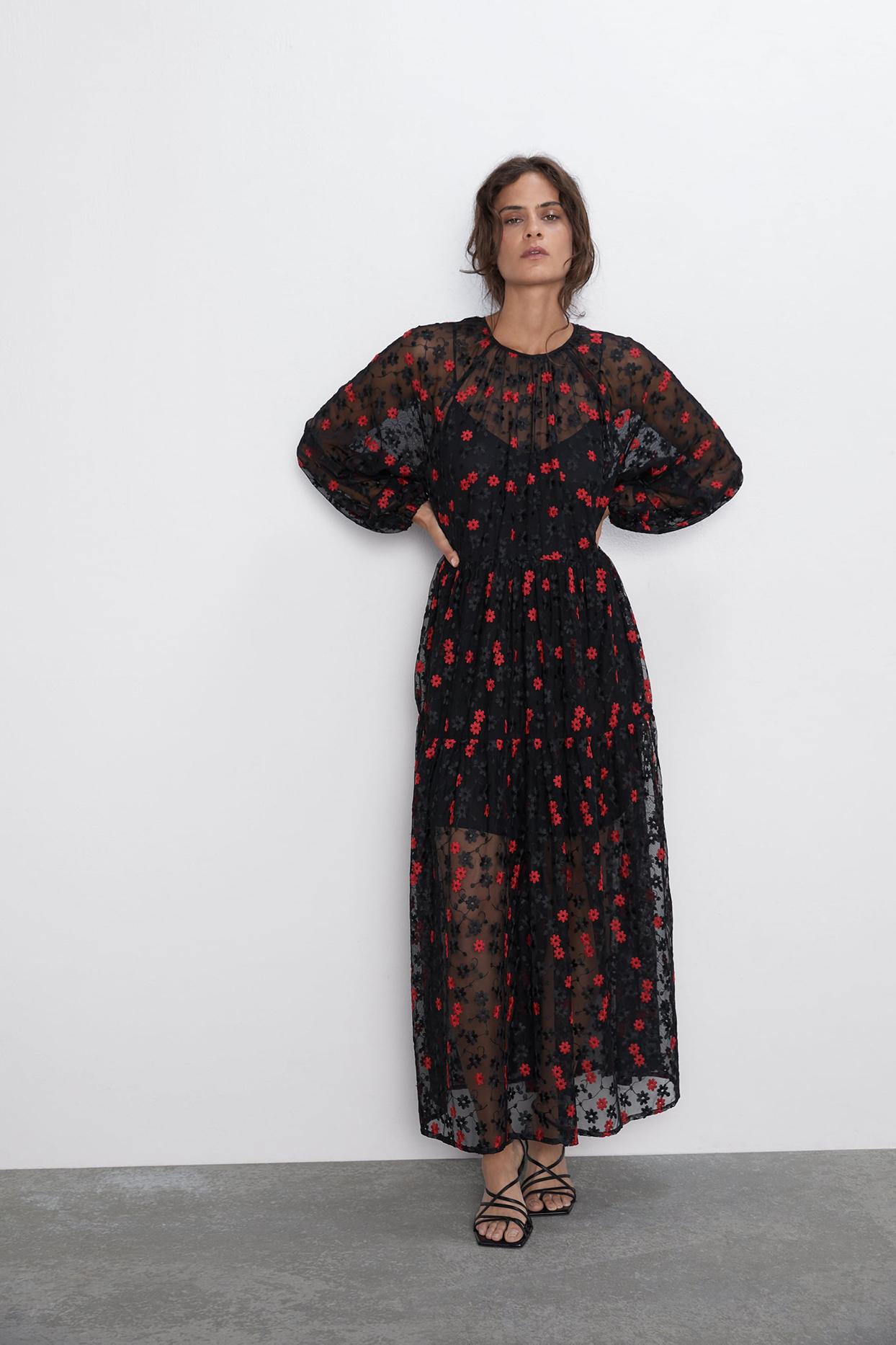 Zara Floral Embroidered Dress