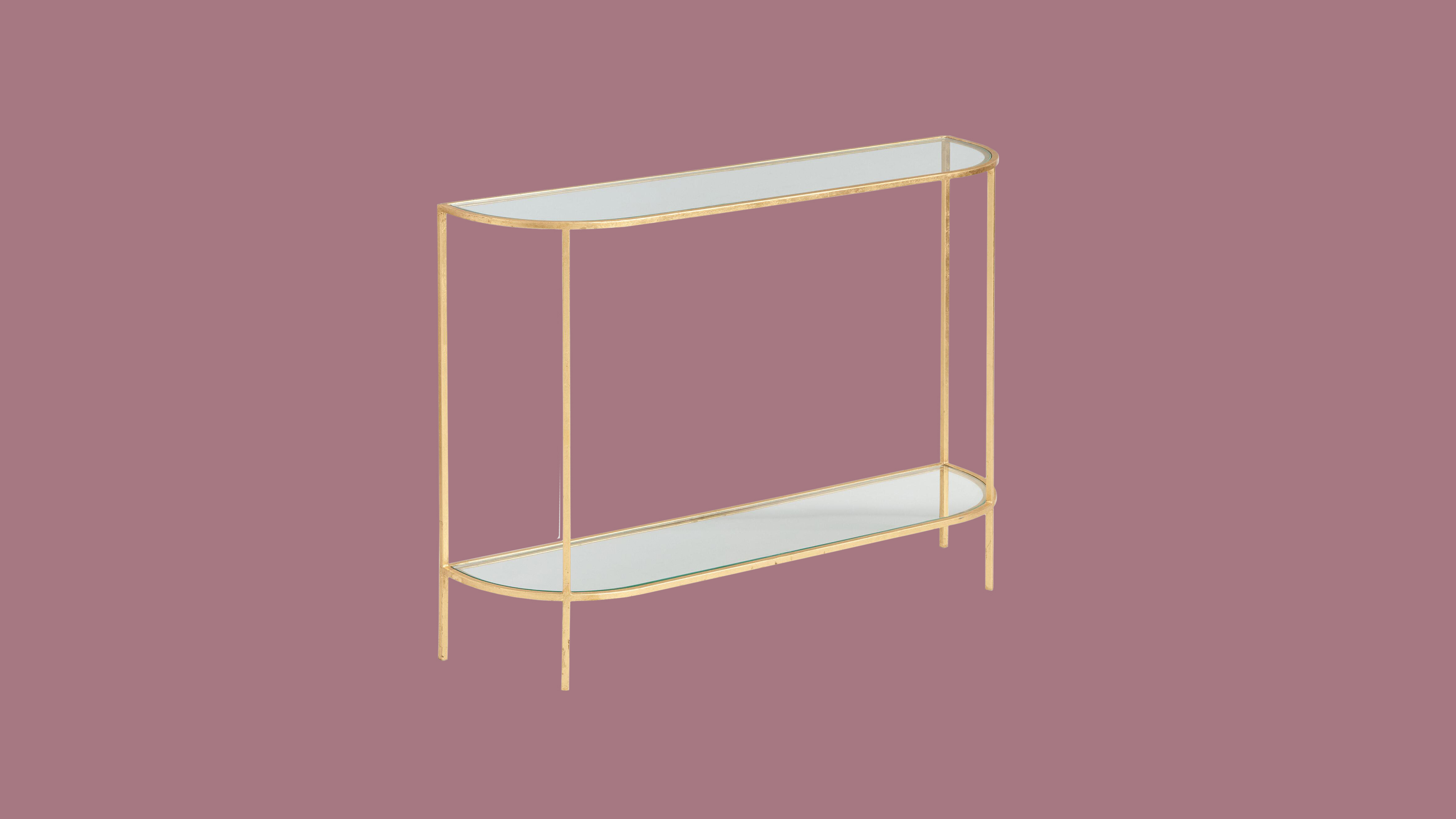 """World Market Glass and Gold Leaf """"Rosalyn"""" Console Table"""
