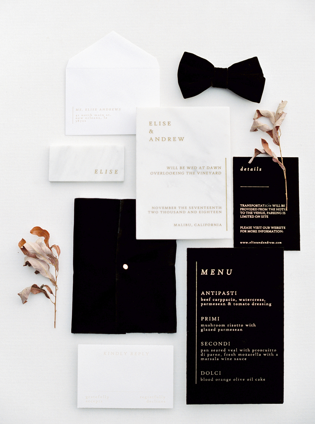 black-tie ready wedding invitation new years gold print
