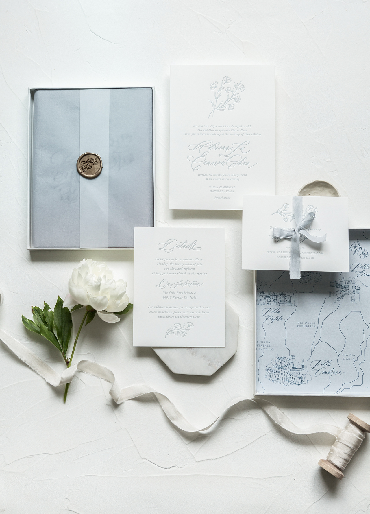 boxed mailer winter wedding invitation