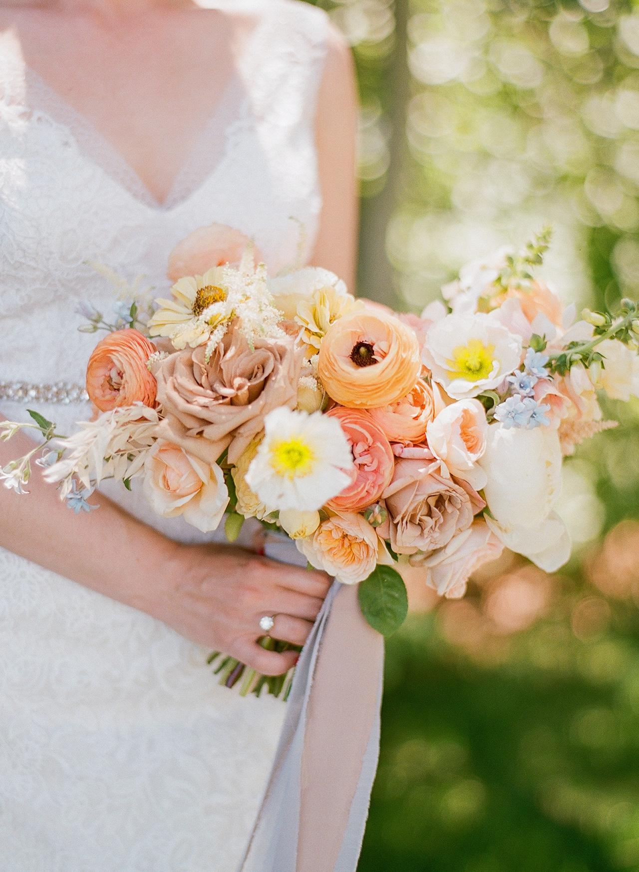 brides colorful wedding bouquet light blue silk ribbon