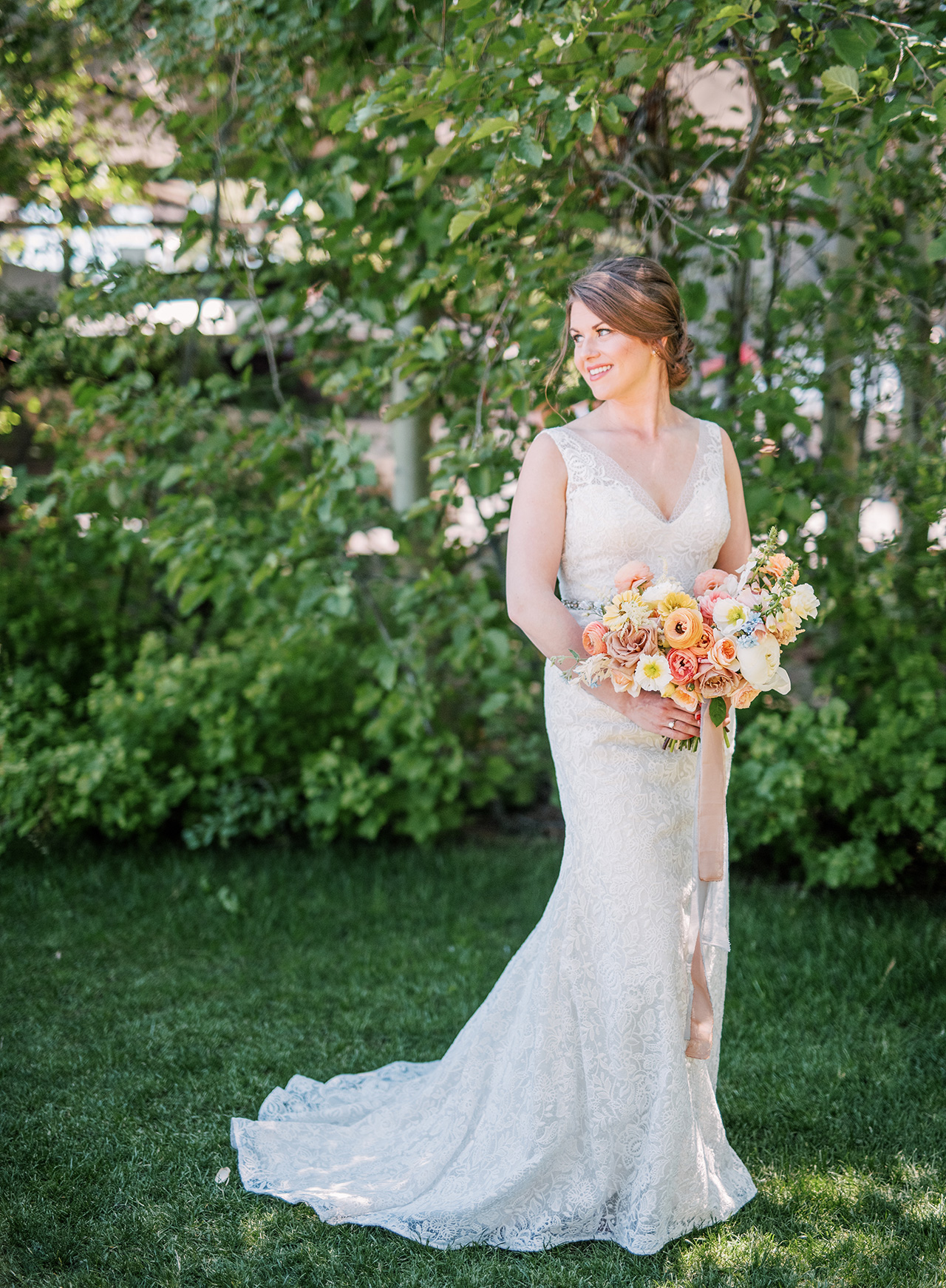 a-line v-neck wedding dress outdoor pose
