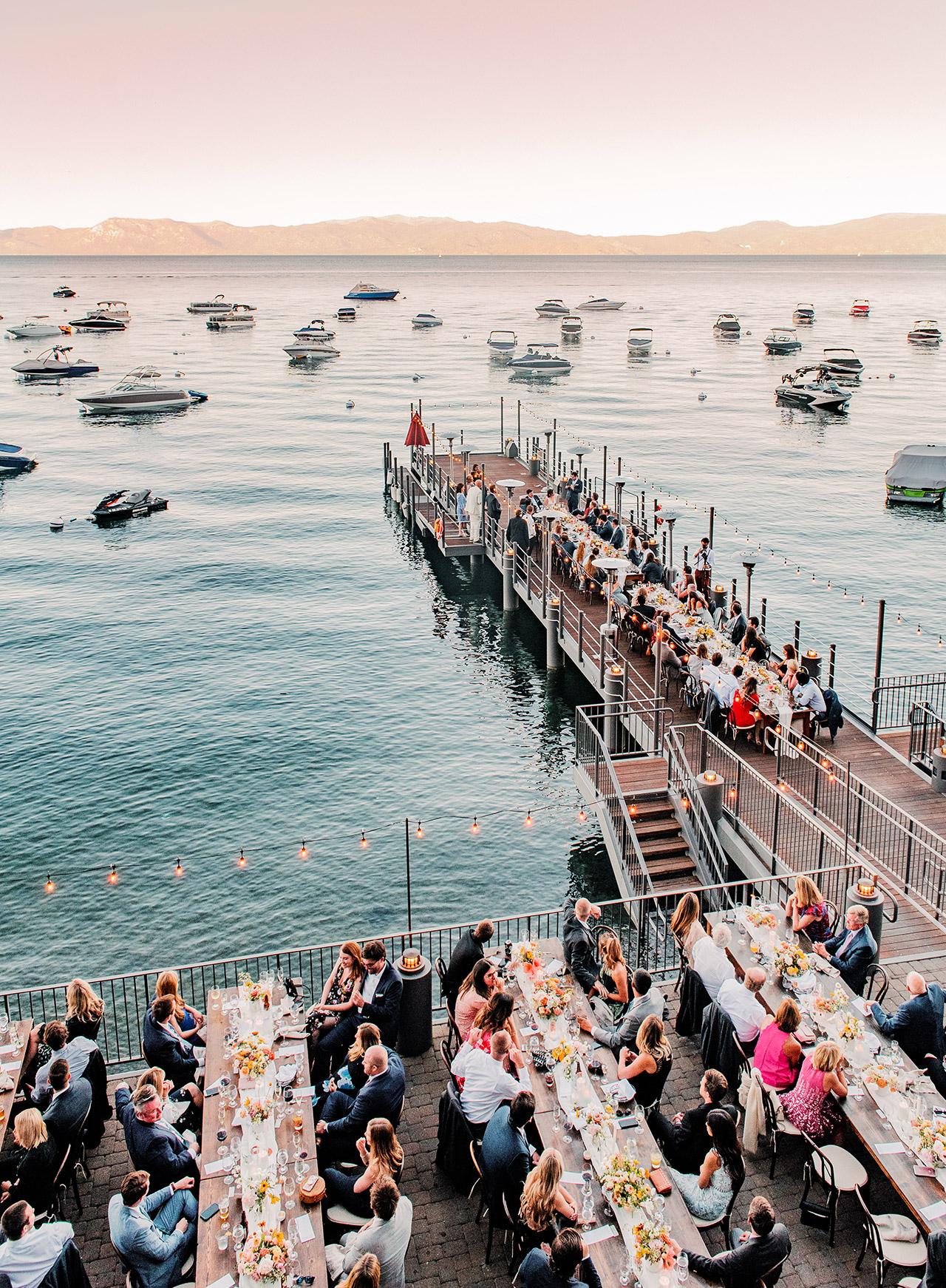 wedding reception dinner marina view dock