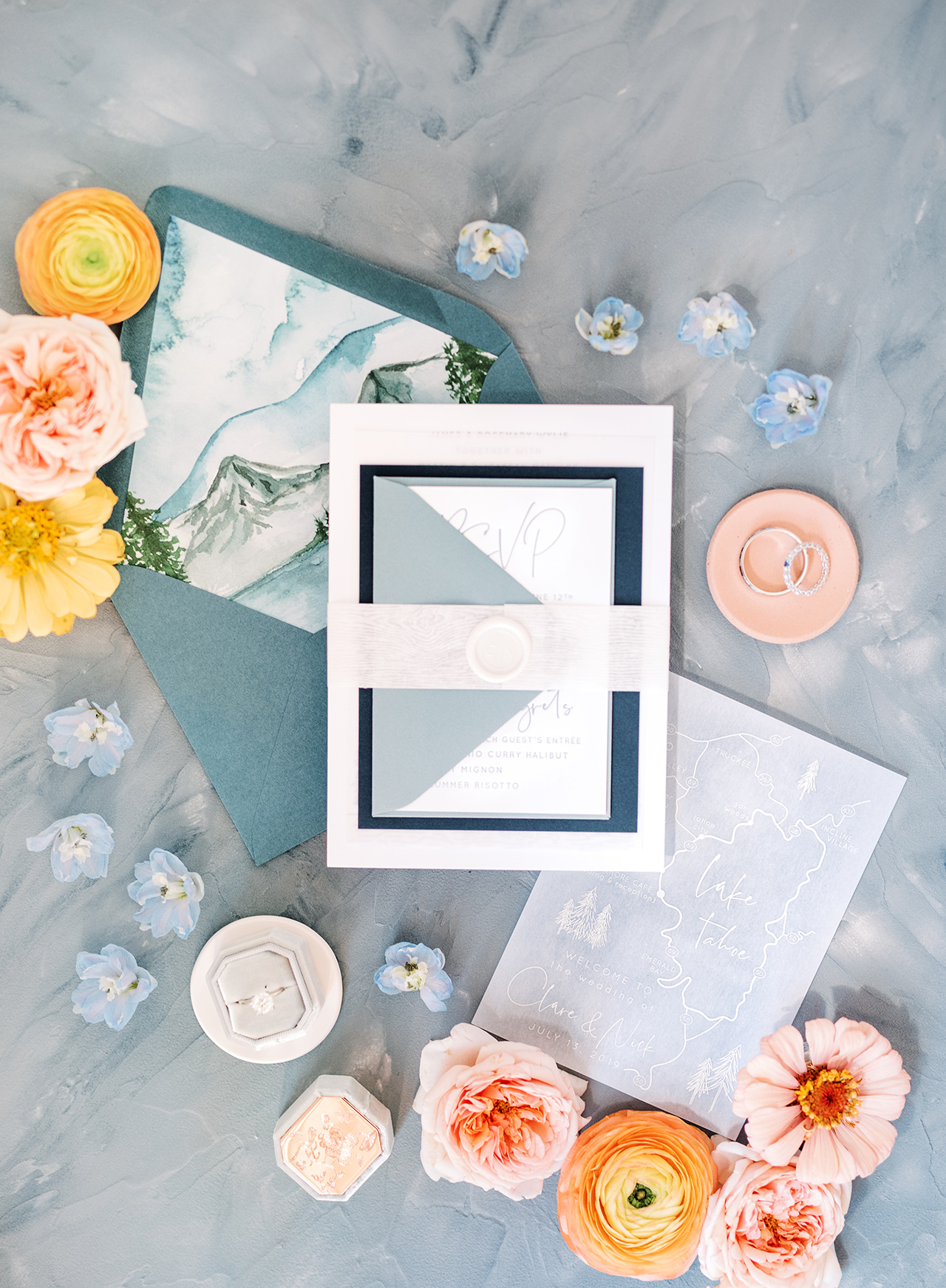 blue white vellum mountain theme wedding invitation