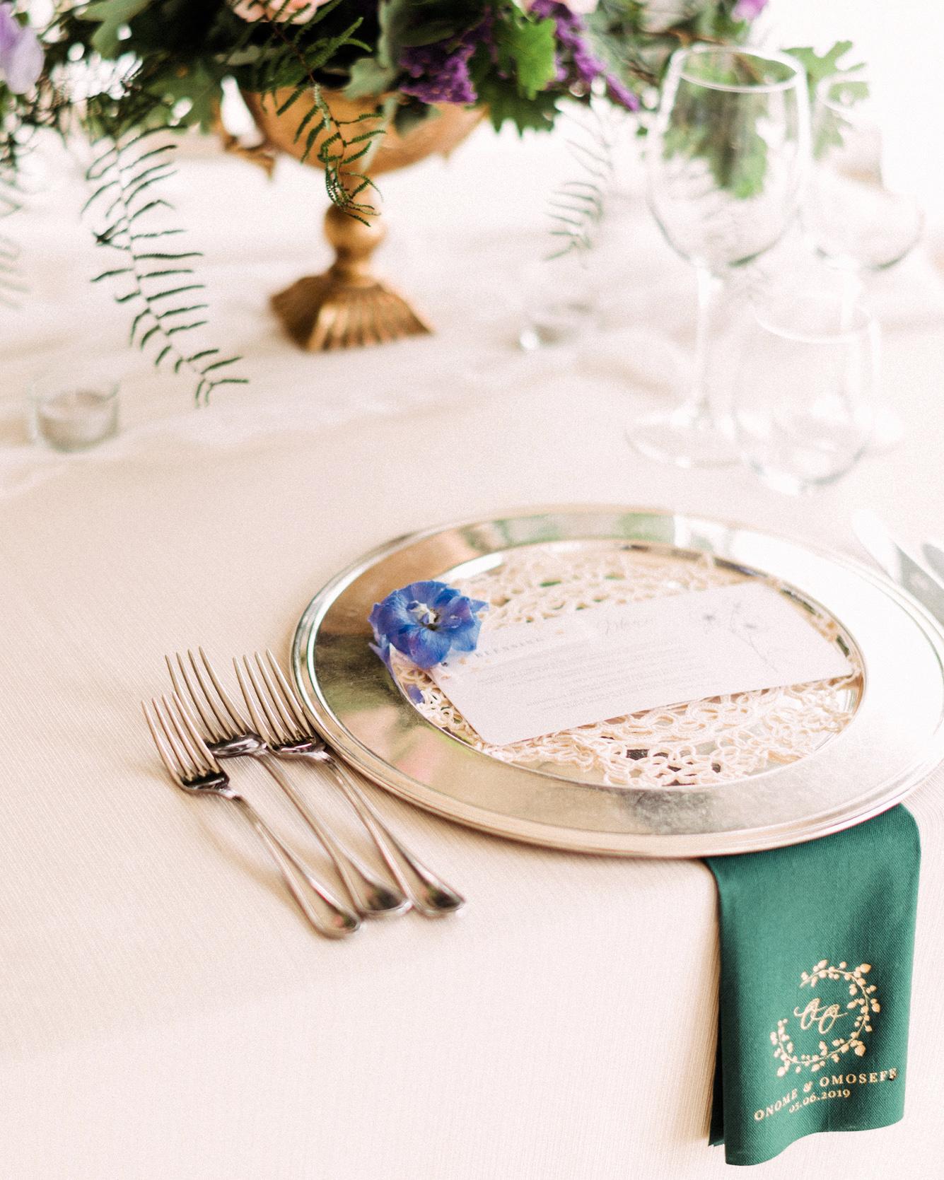 onome efe wedding reception place setting