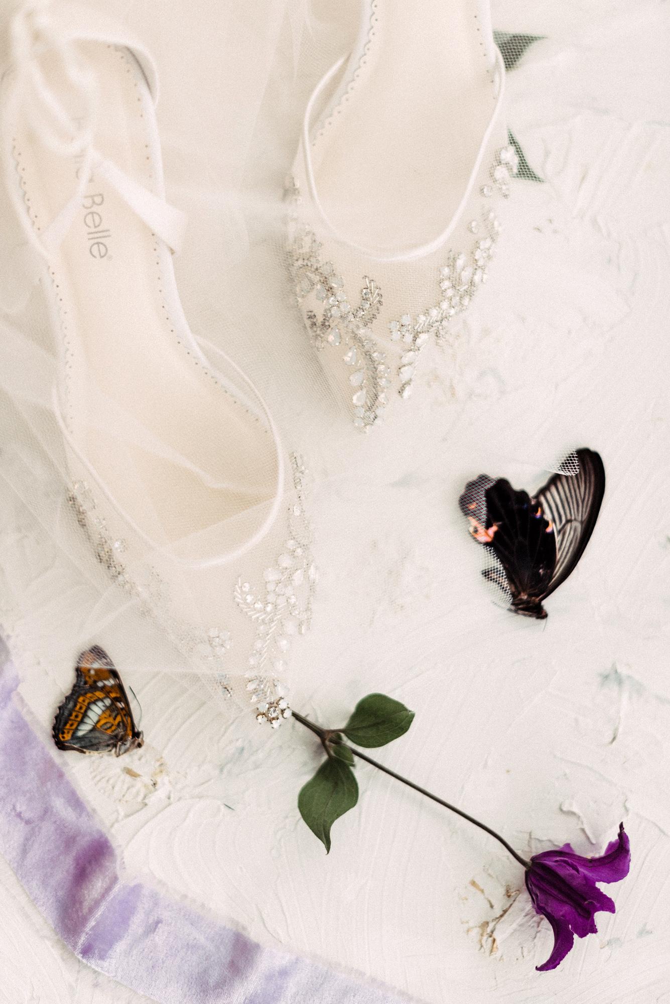 onome efe wedding bride shoes butterflies