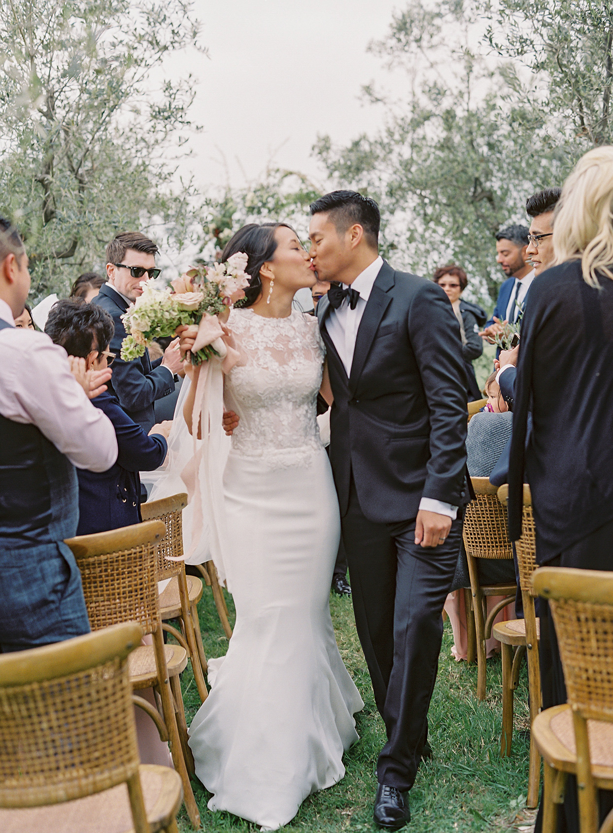 jen alan wedding recessional couple kiss