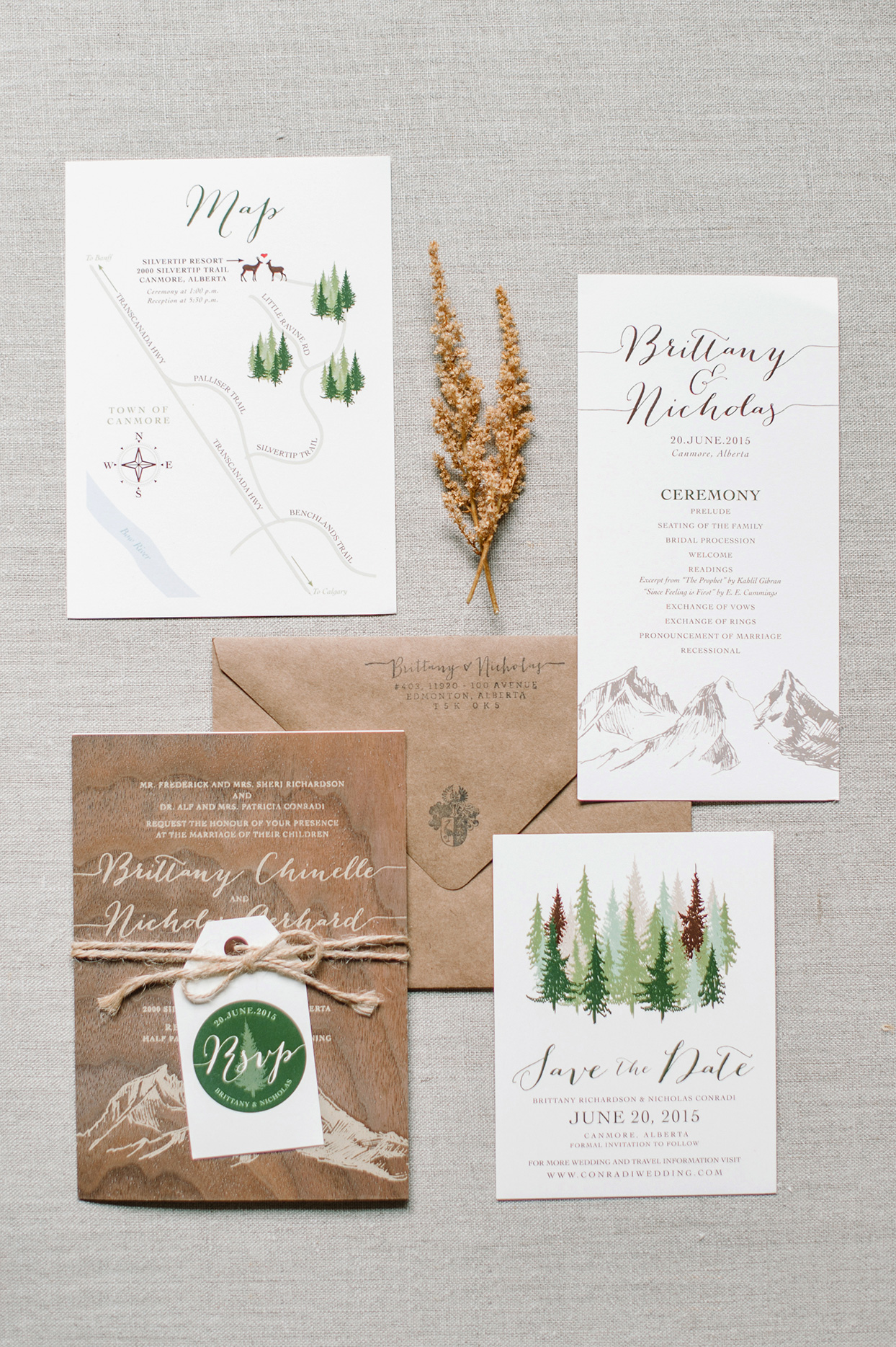 rustic wedding invitations with wood and tree elements