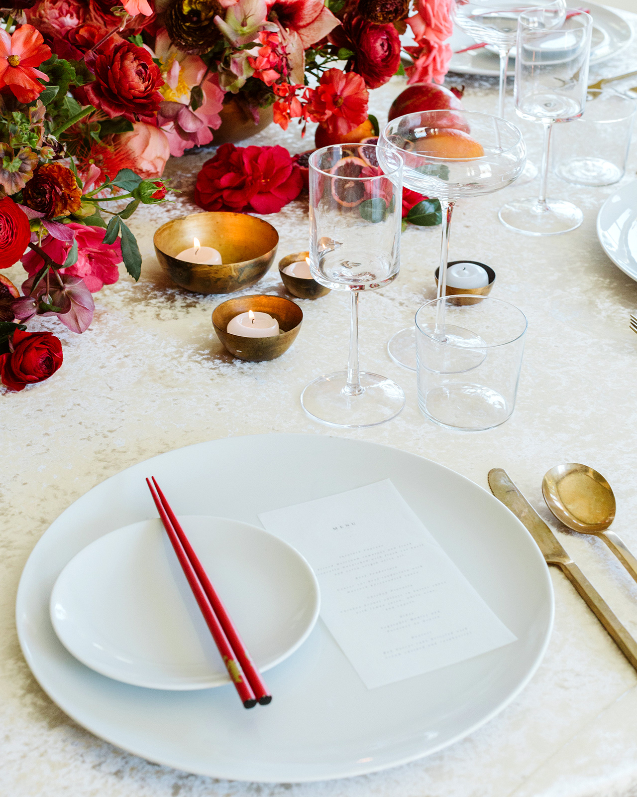 tea ceremony table setting white plate red chopsticks