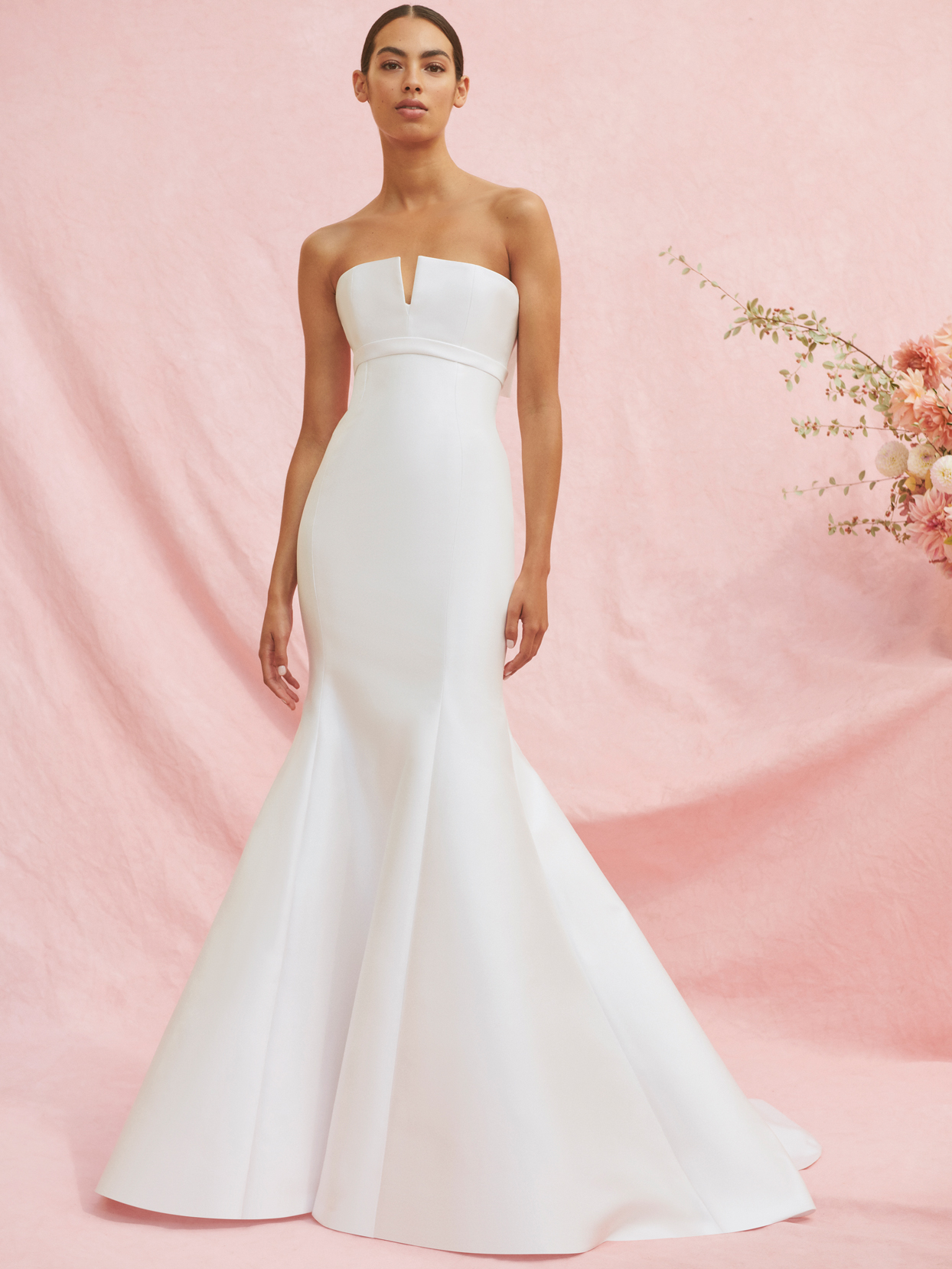 carolina herrera strapless trumpet wedding dress fall 2020