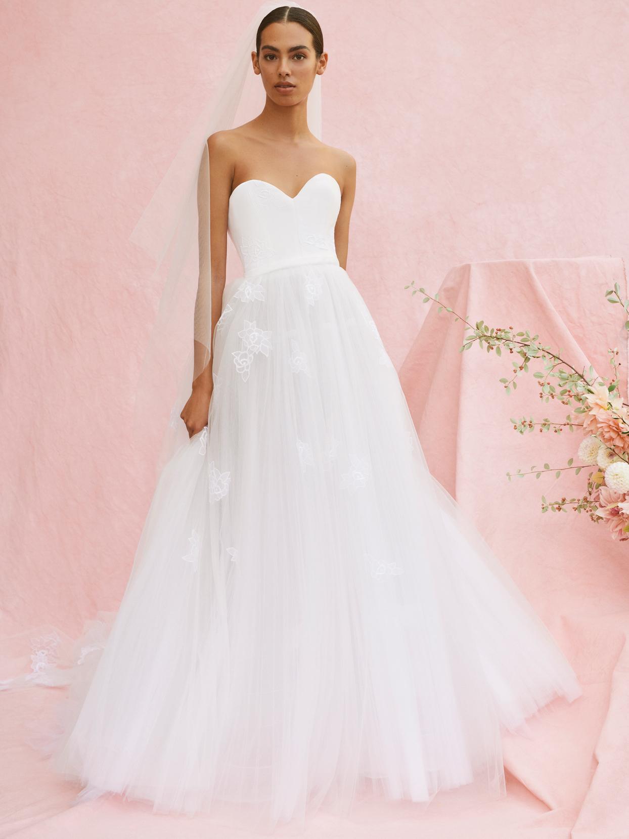carolina herrera strapless rose embroidered bodice wedding dress fall 2020