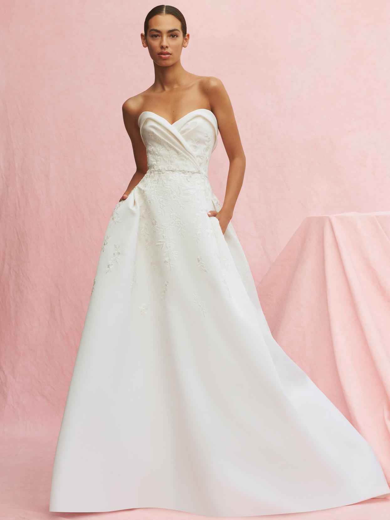 carolina herrera strapless embroidered a-line wedding dress fall 2020