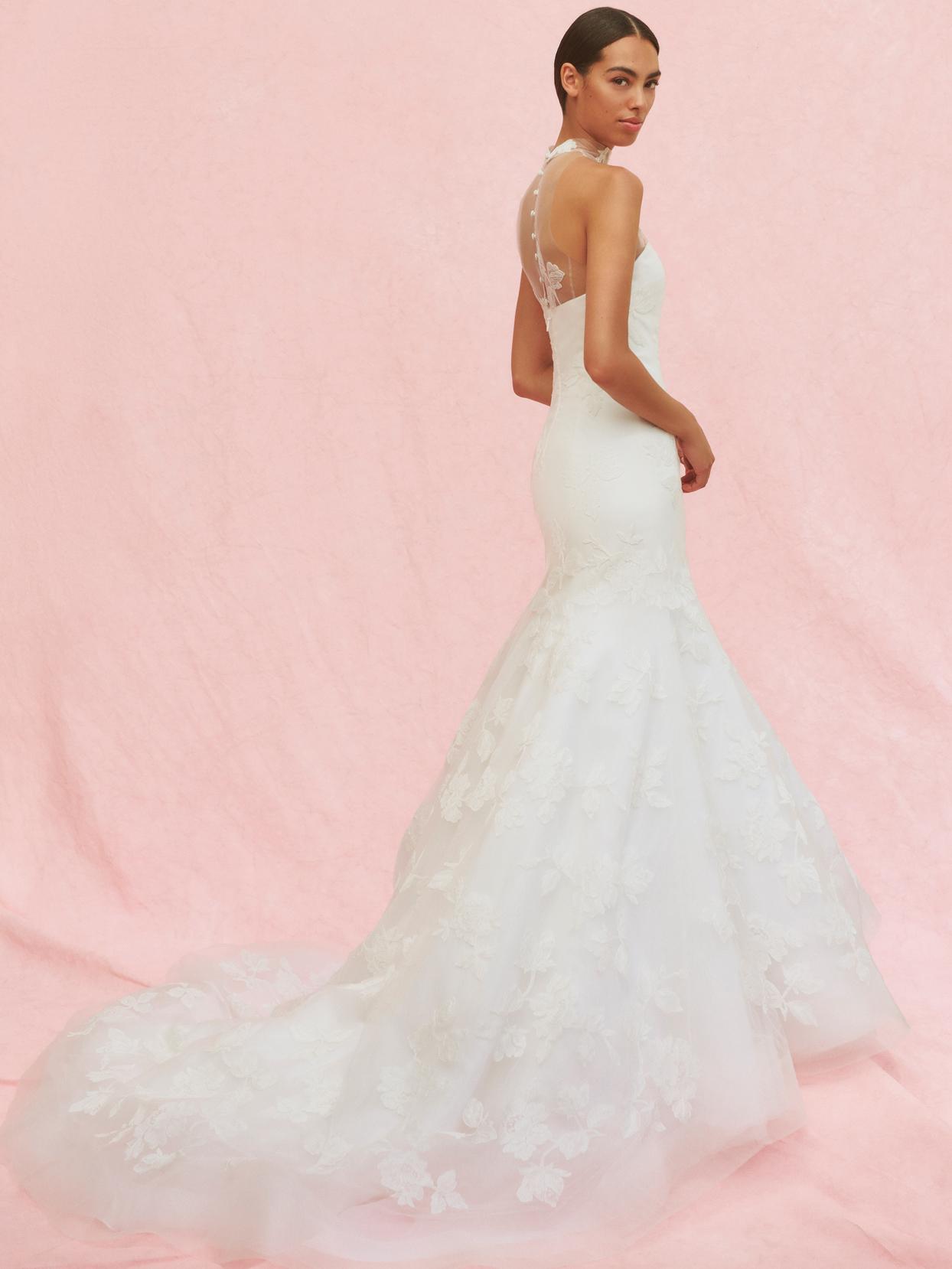 carolina herrera illusion halter trumpet wedding dress fall 2020