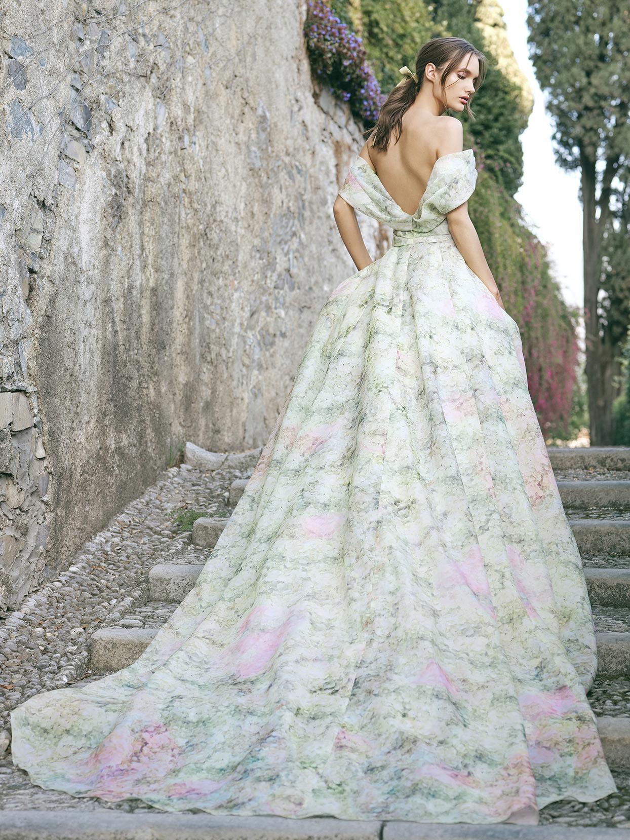 monique lhuillier off the shoulder ball gown wedding dress fall 2020