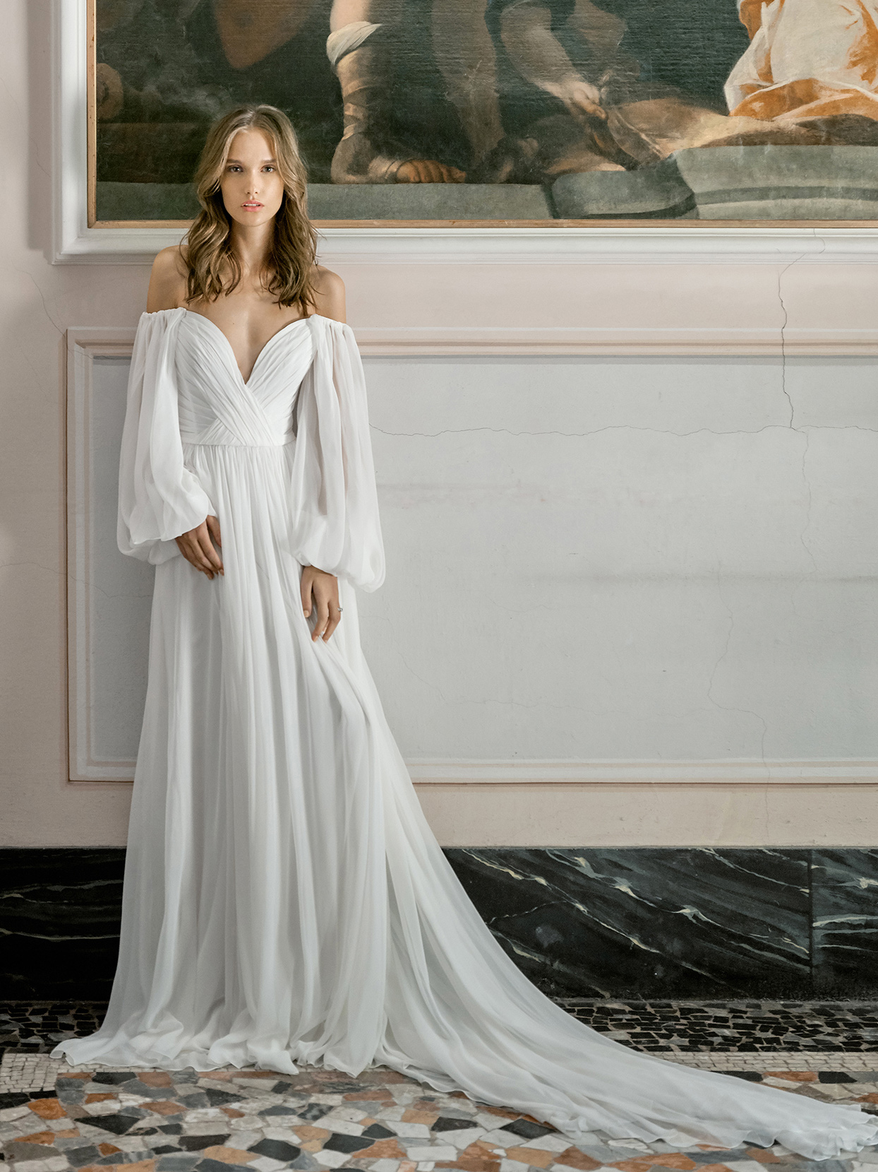 monique lhuillier off the shoulder deep v-neck wedding dress fall 2020