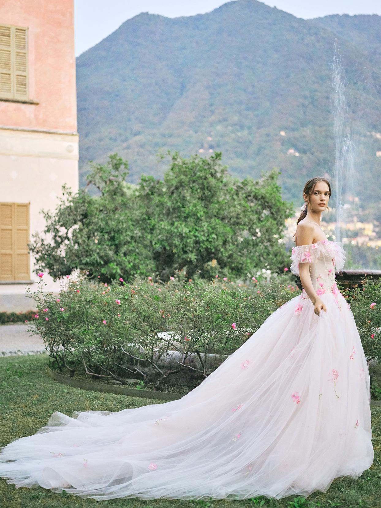 monique lhuillier pink ball gown floral applique wedding dress fall 2020