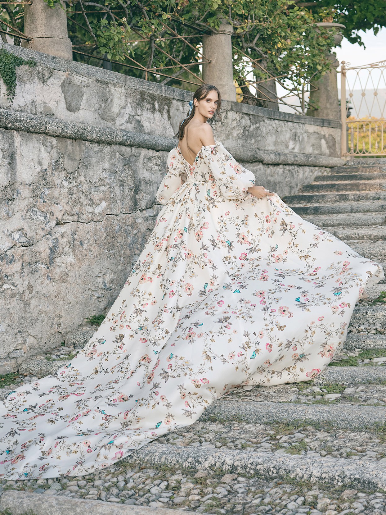 monique lhuillier off the shoulder bell sleeve wedding dress fall 2020