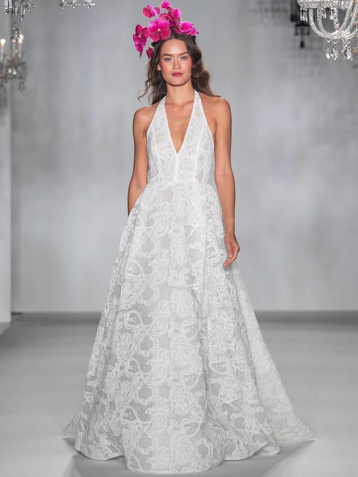 anne barge halter v neck lace wedding dress fall 2020