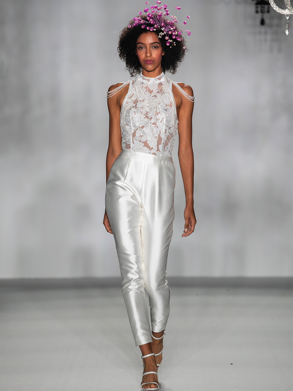 anne barge lace bodice pants suit wedding dress fall 2020