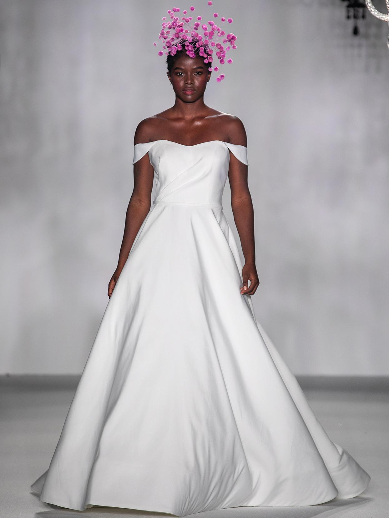 anne barge off the shoulder a line wedding dress fall 2020