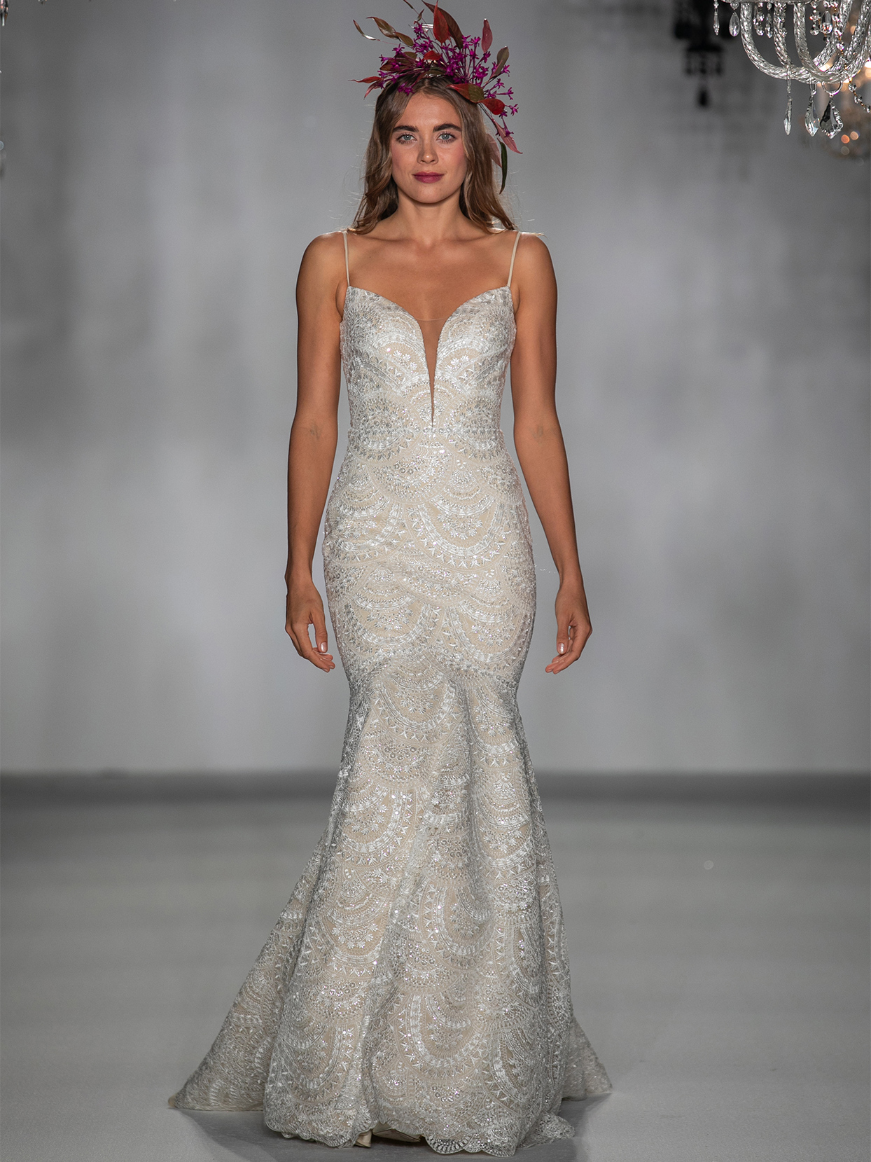 anne barge cream lace mermaid wedding dress fall 2020