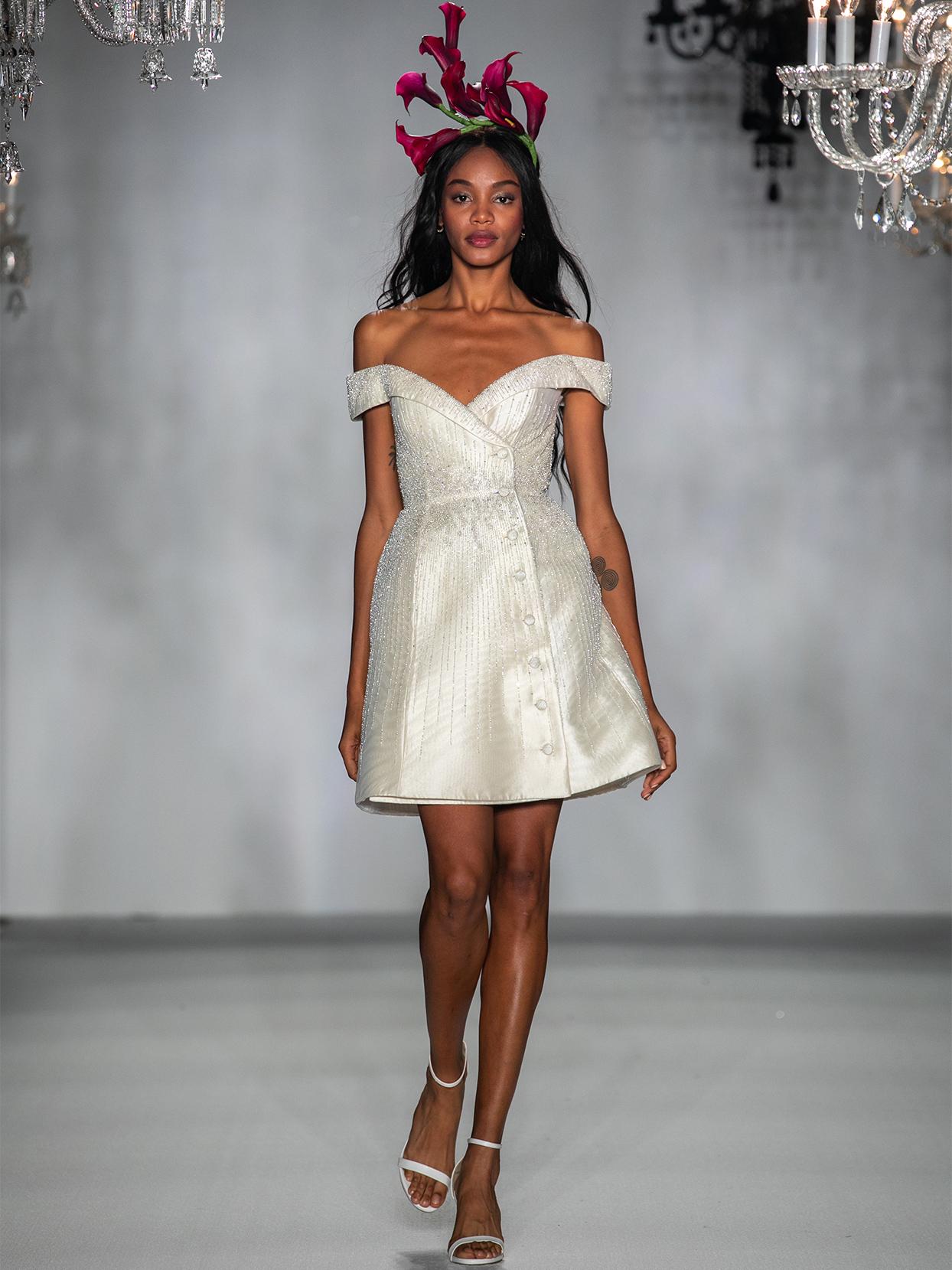 anne barge off the shoulder short wedding dress fall 2020