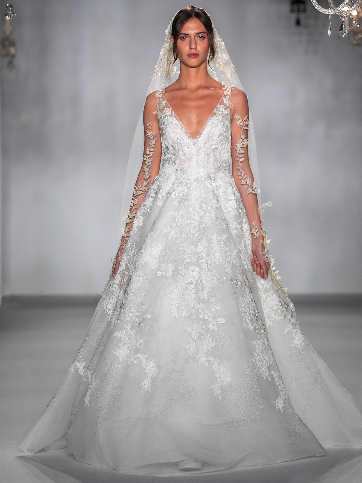 anne barge v neck lace brocade wedding dress fall 2020