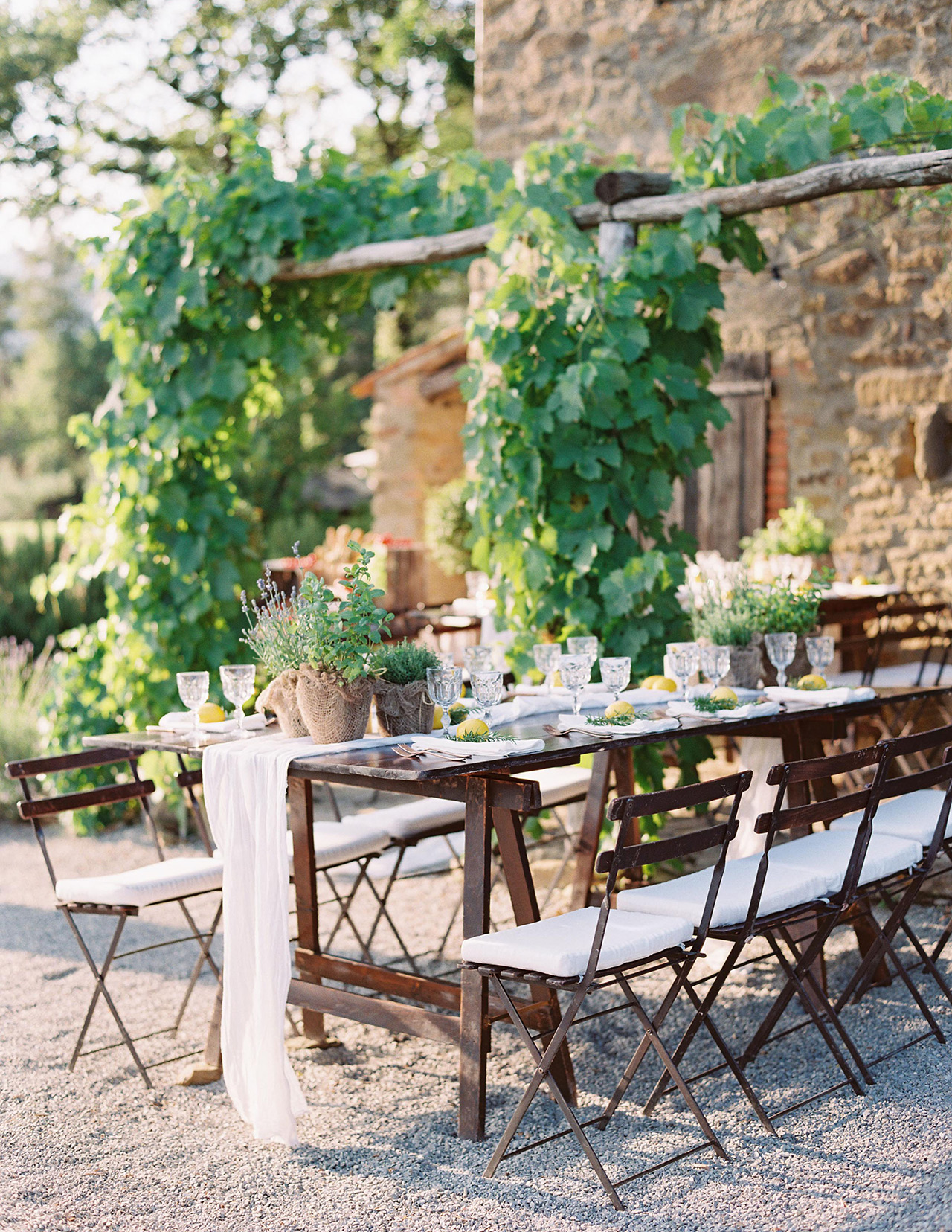 wooden tables outdoor welcome party white decore