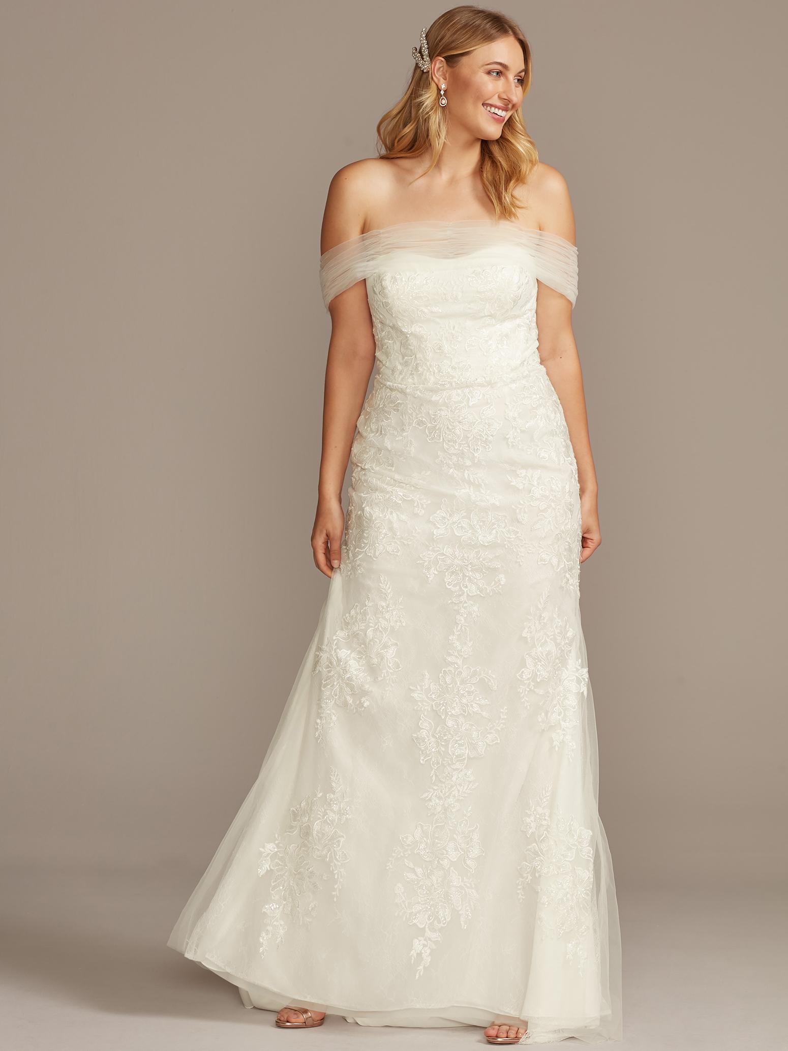davids bridal off the shoulder tulle lace wedding dress fall 2020