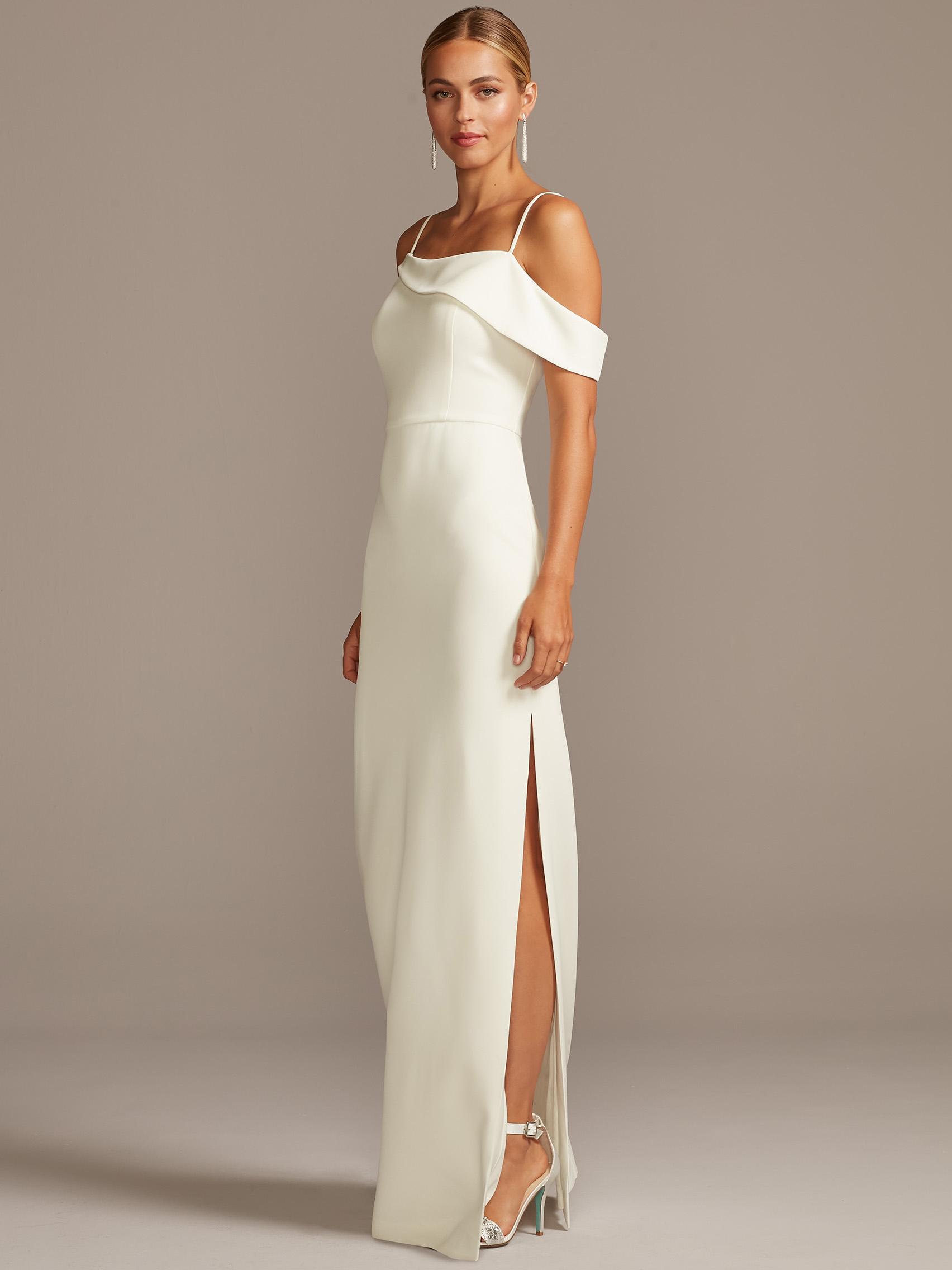 davids bridal db studio off one shoulder side slit wedding dress fall 2020