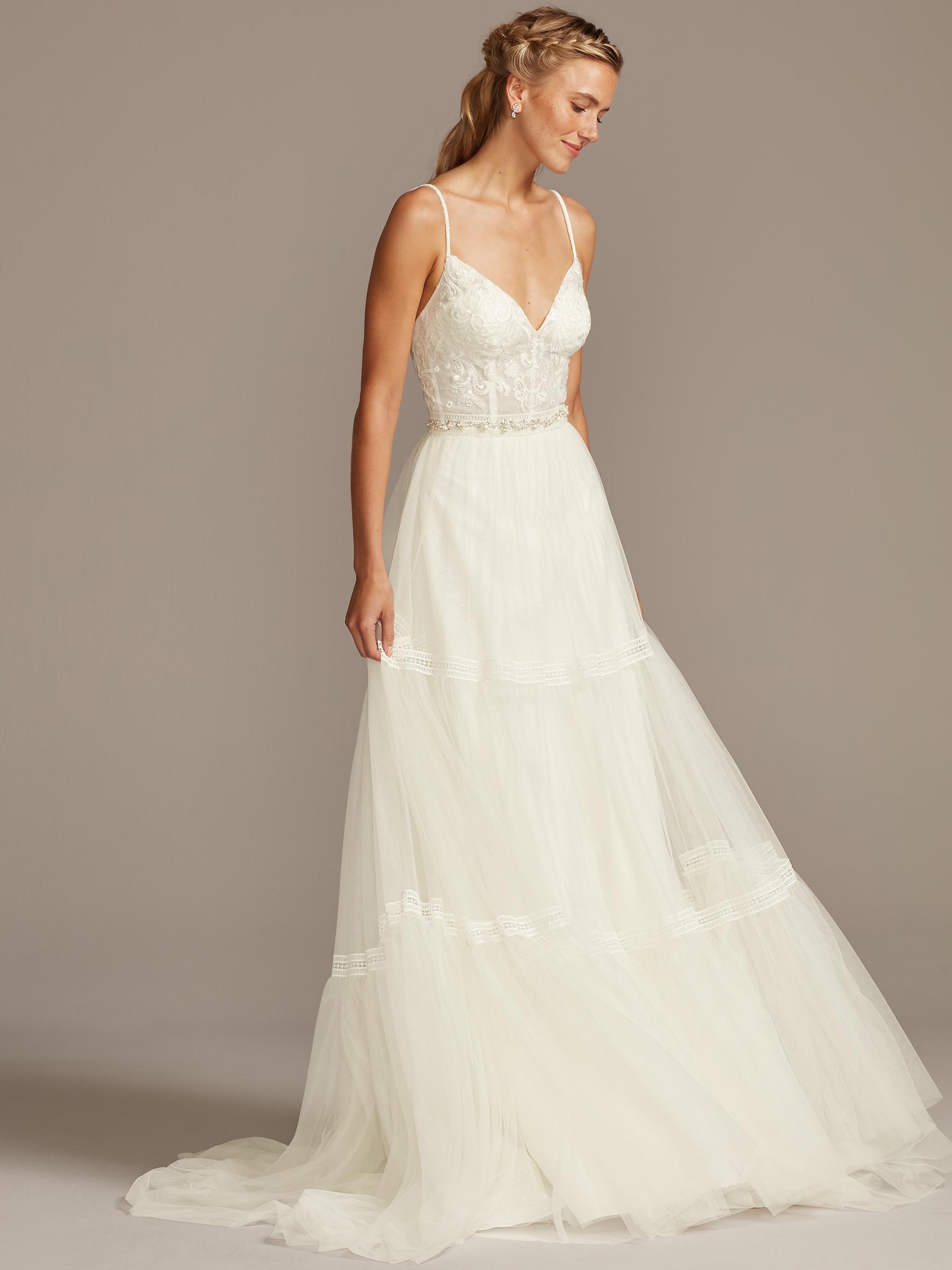 davids bridal melissa sweet boning v-neck spaghetti strap wedding dress fall 2020