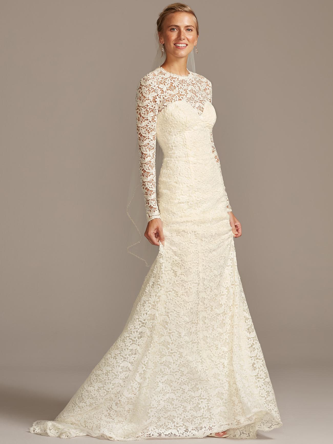 davids bridal melissa sweet lace long sleeve illusion v-neck wedding dress fall 2020
