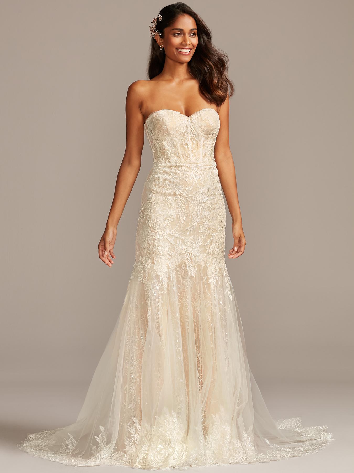 davids bridal melissa sweet strapless, boning lace wedding dress fall 2020