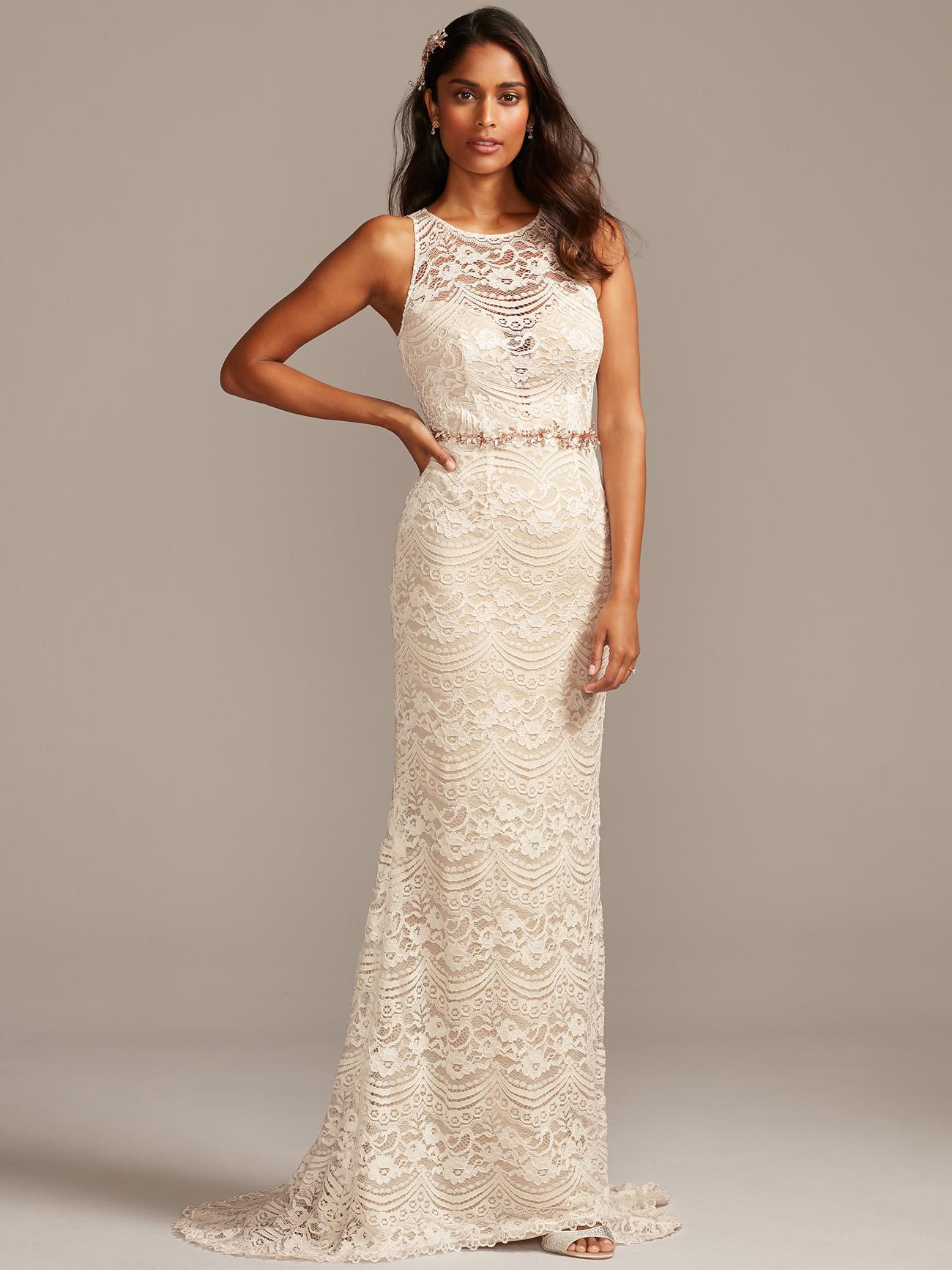 davids bridal melissa sweet lace, sleeveless wedding dress fall 2020