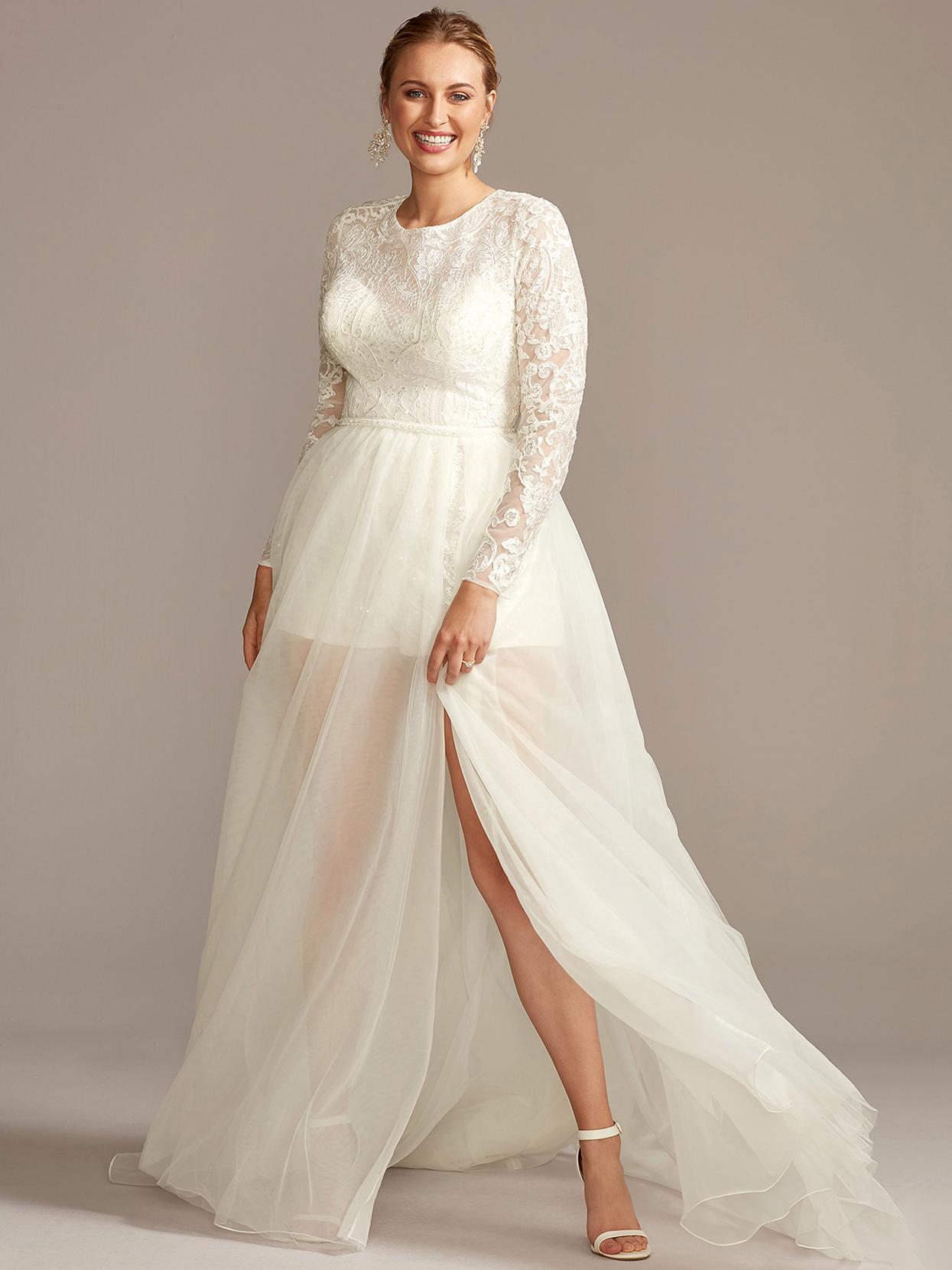 davids bridal galina long-sleeved sheer overlay wedding dress fall 2020