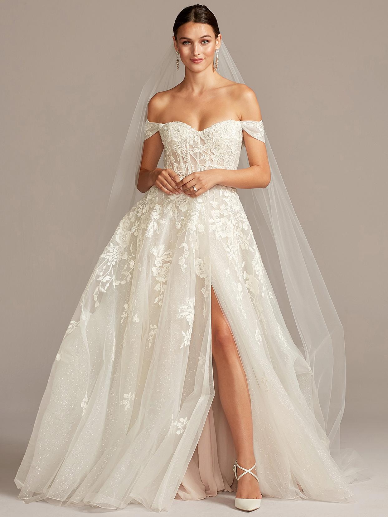 davids bridal galina off-the-shoulder ball gown wedding dress fall 2020