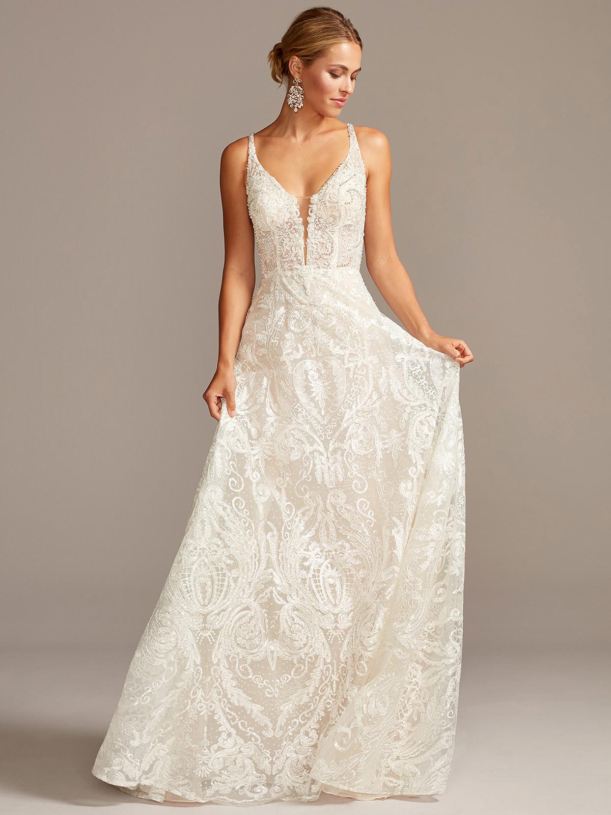 davids bridal galina embroidered illusion plunging neck wedding dress fall 2020
