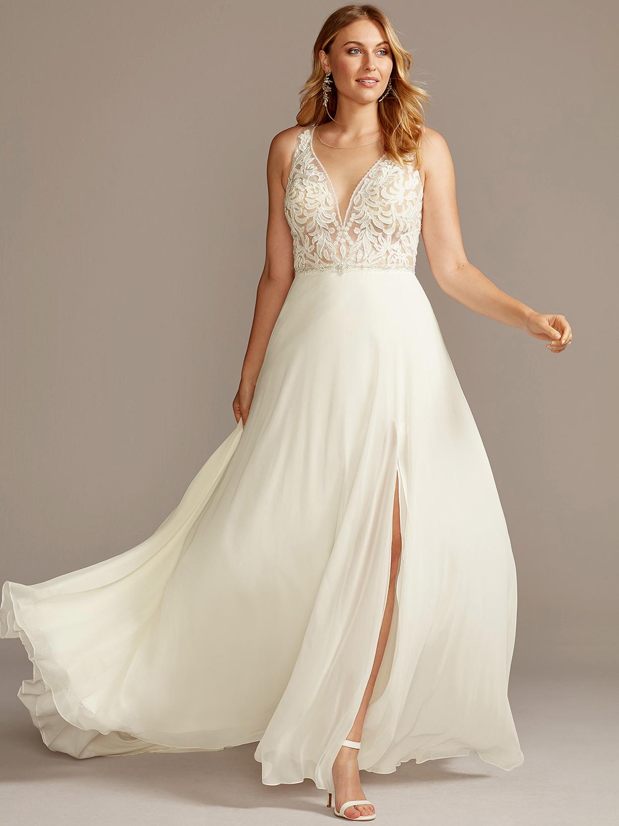 davids bridal galina v-neck a-line with slit wedding dress fall 2020