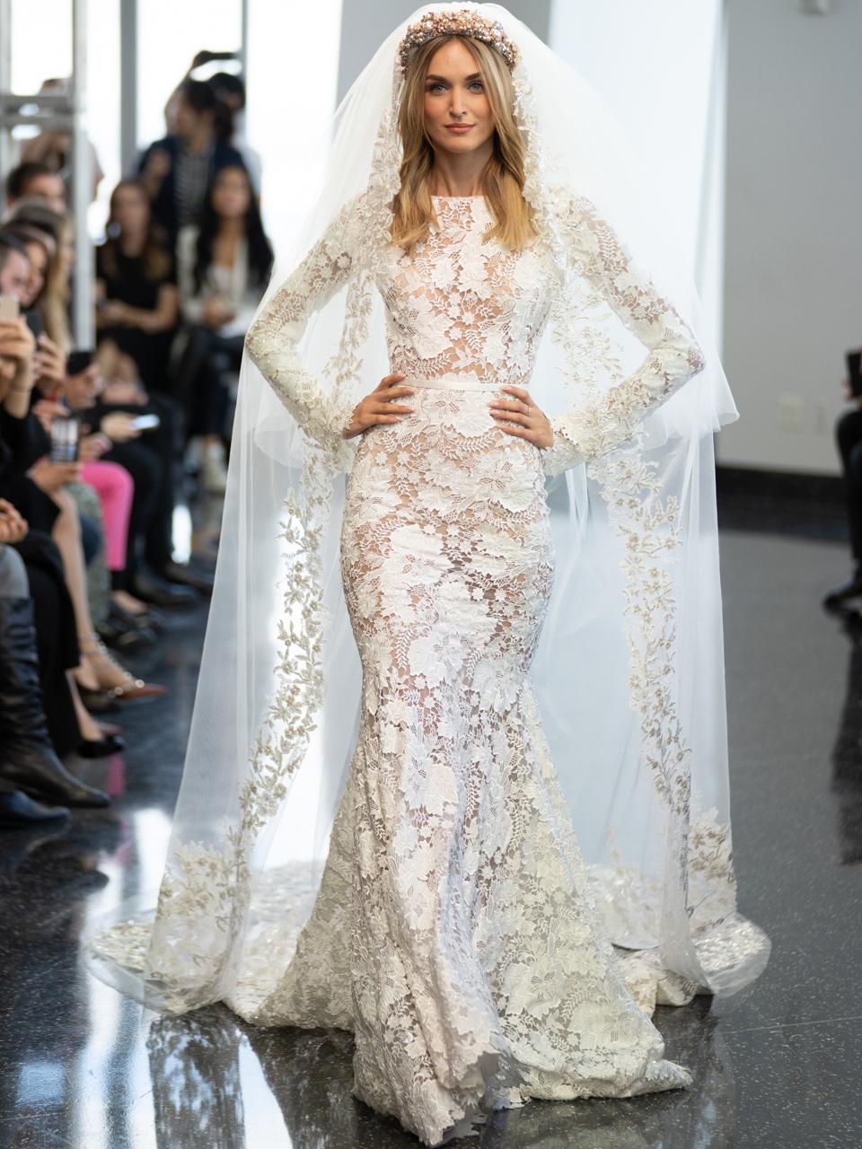 berta long sleeve lace mermaid wedding dress fall 2020