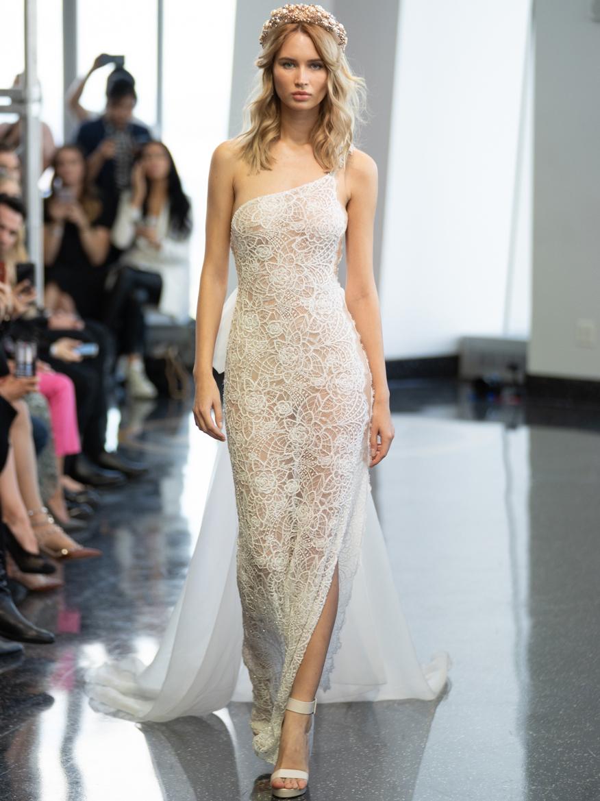 berta one strap lace wedding dress fall 2020