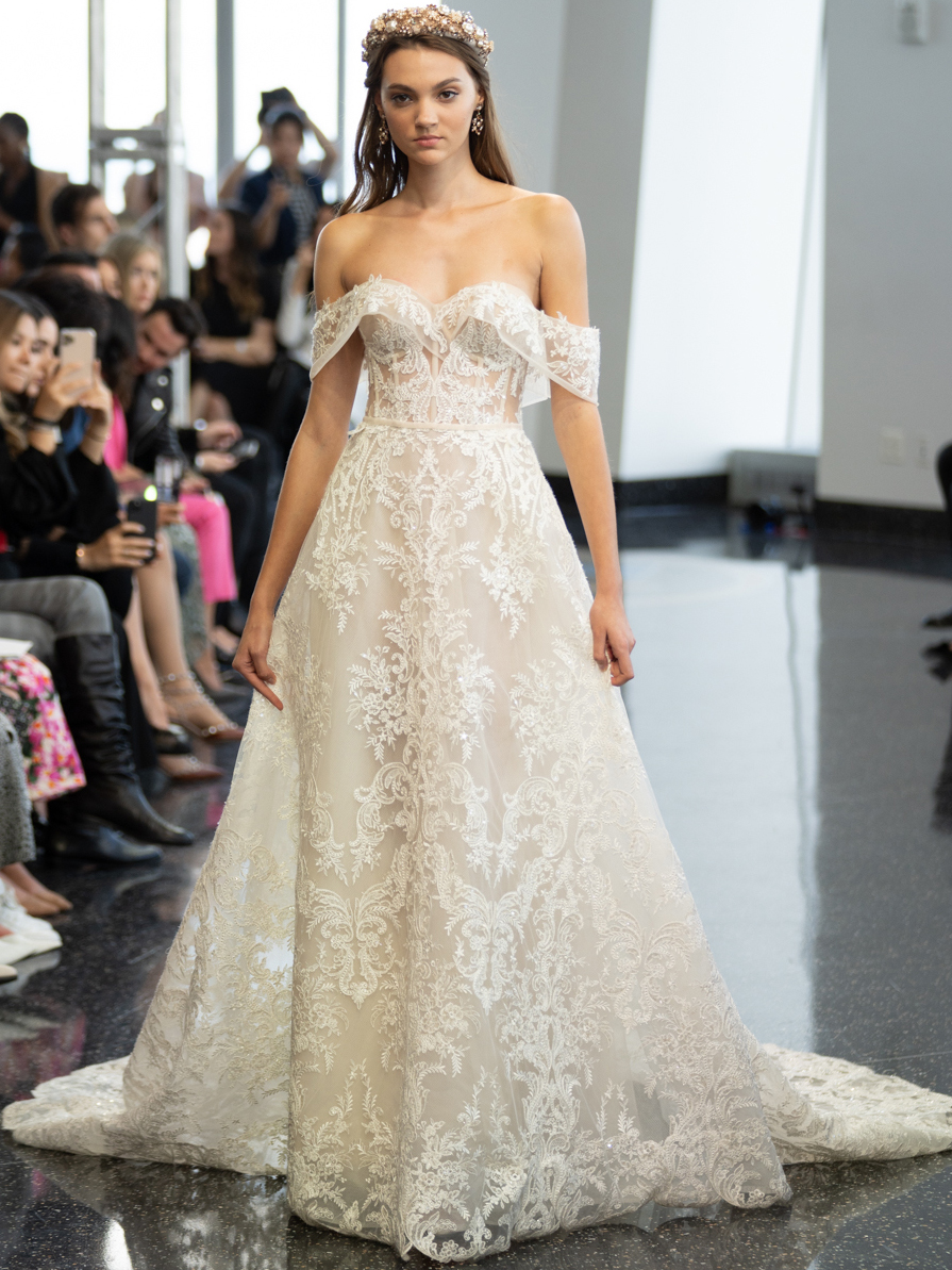 berta sweetheart off the shoulder wedding dress fall 2020