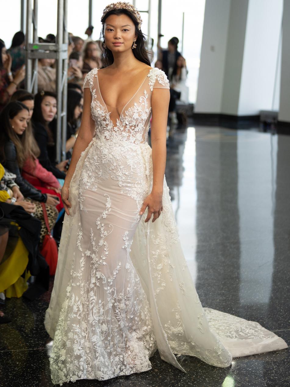berta sheer cap sleeve mermaid wedding dress fall 2020