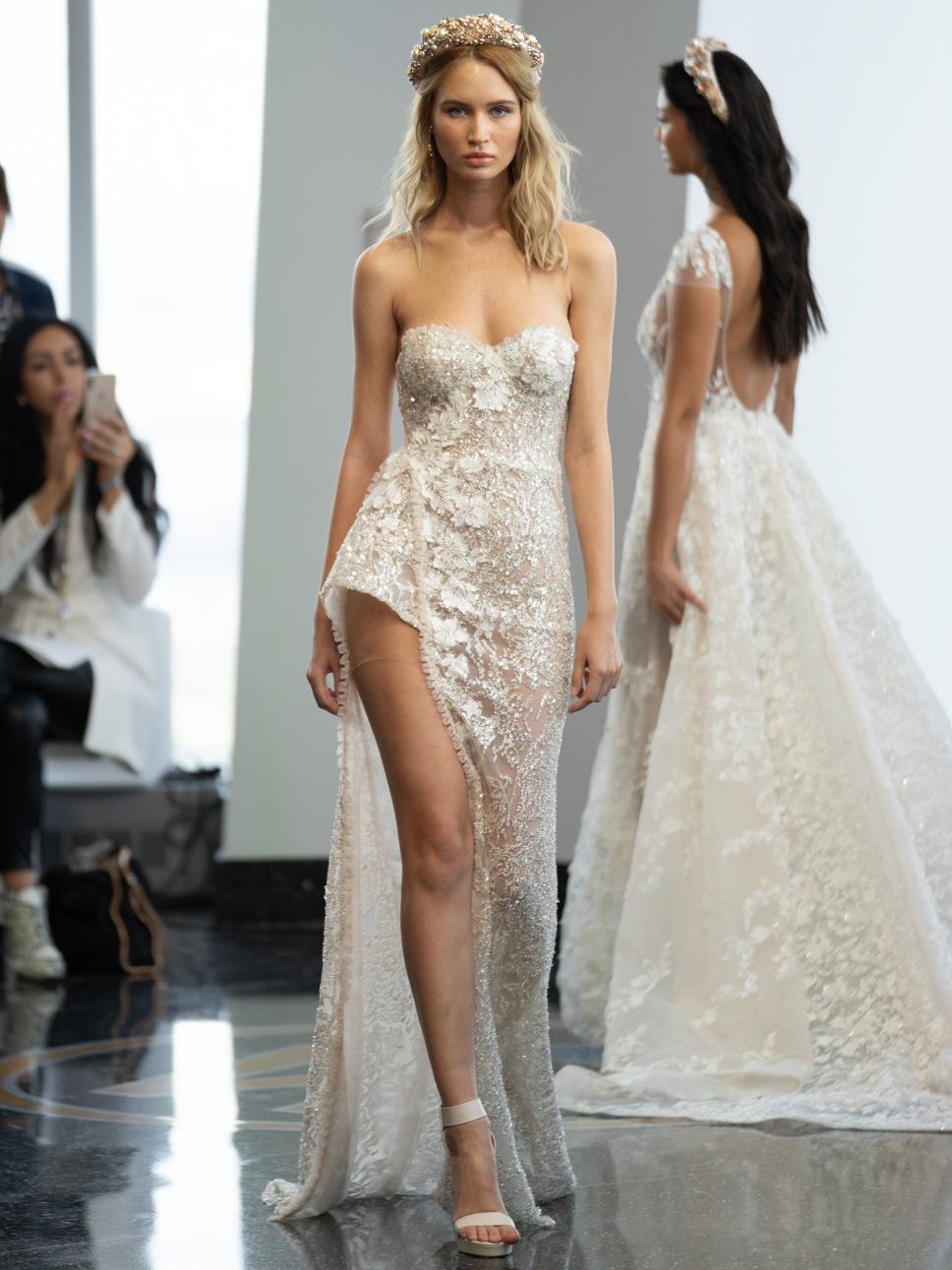 berta strapless high slit wedding dress fall 2020